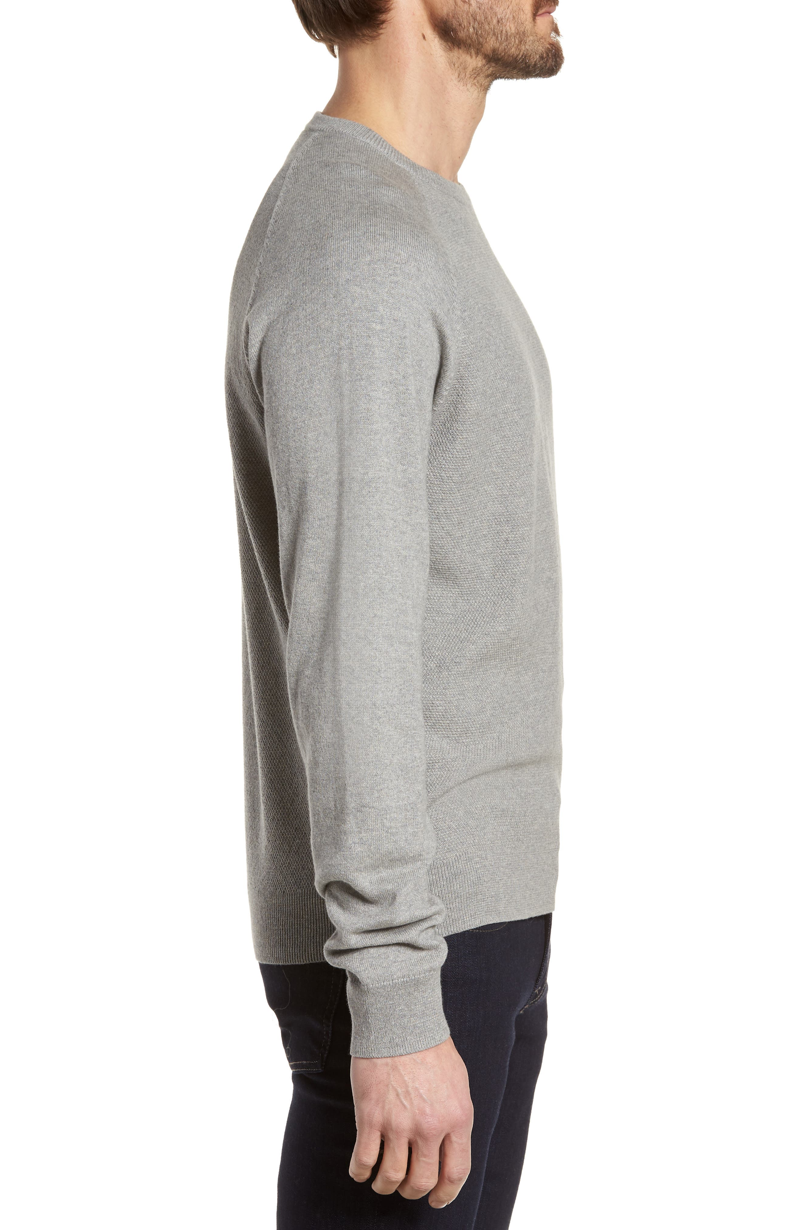 Crewneck Cotton & Cashmere Sweater,                             Alternate thumbnail 3, color,                             Grey Medium Heather