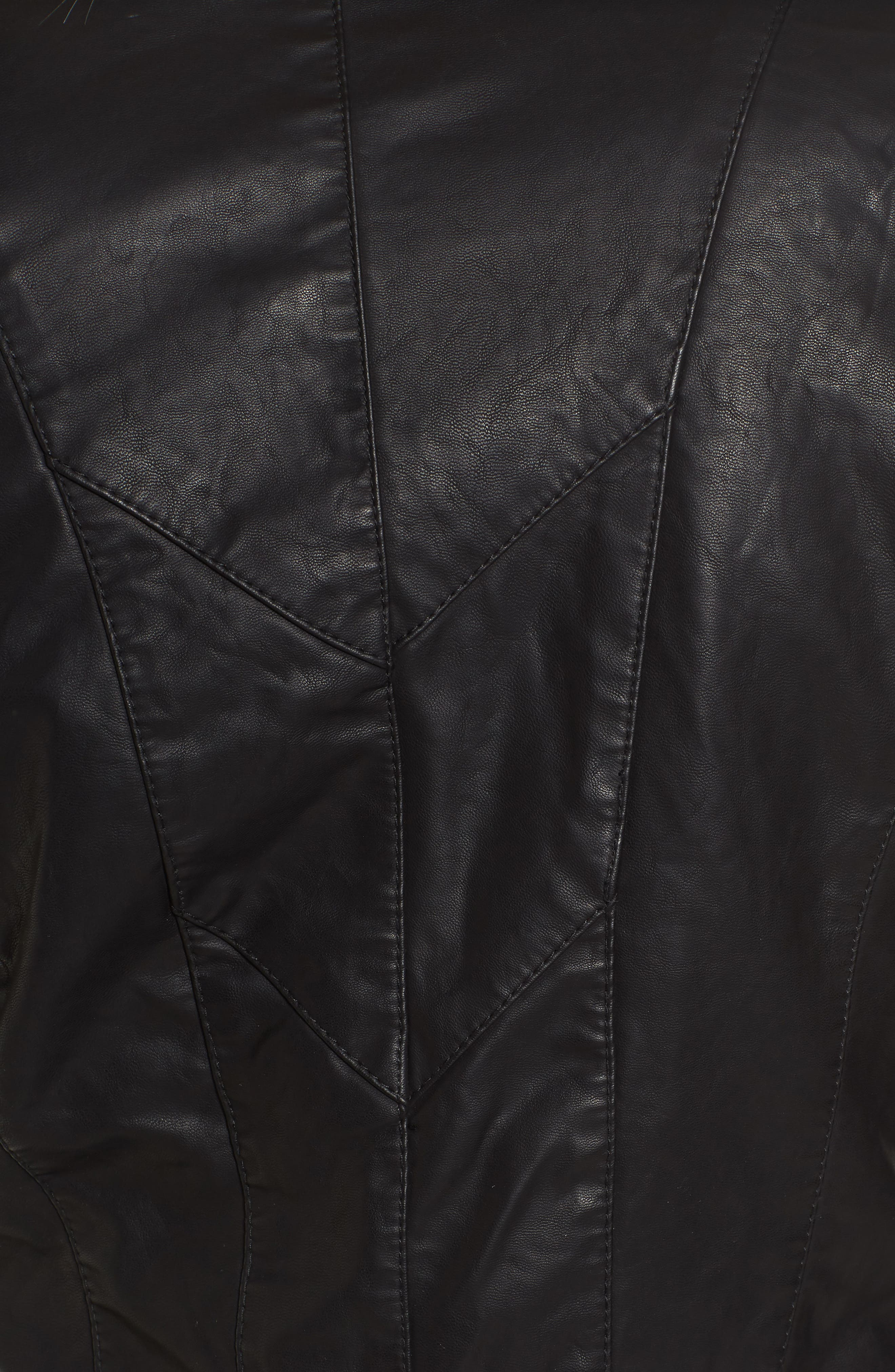 Faux Leather Jacket,                             Alternate thumbnail 6, color,                             Black