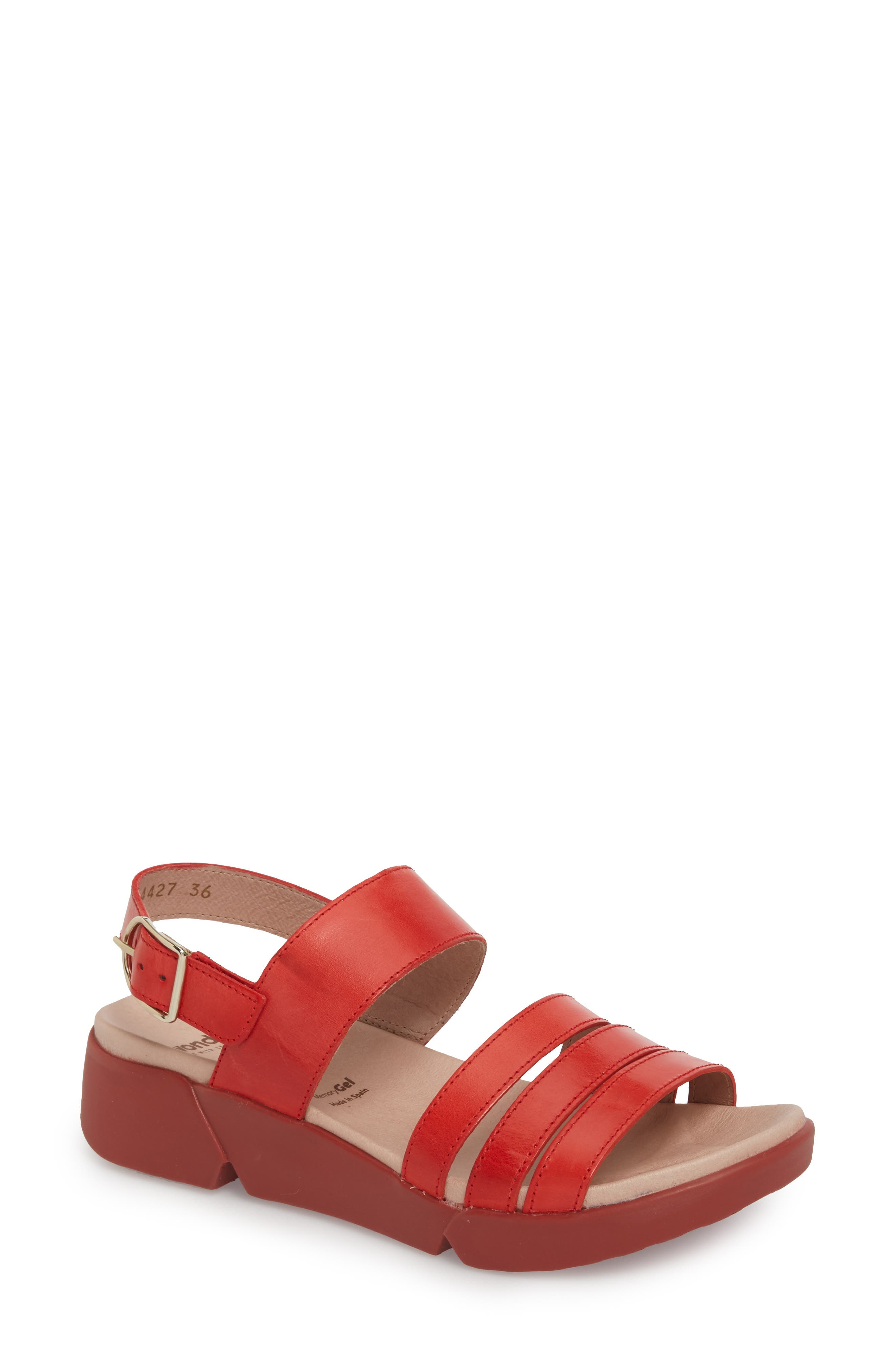 WONDERS A-8004 Sandal in Red Leather