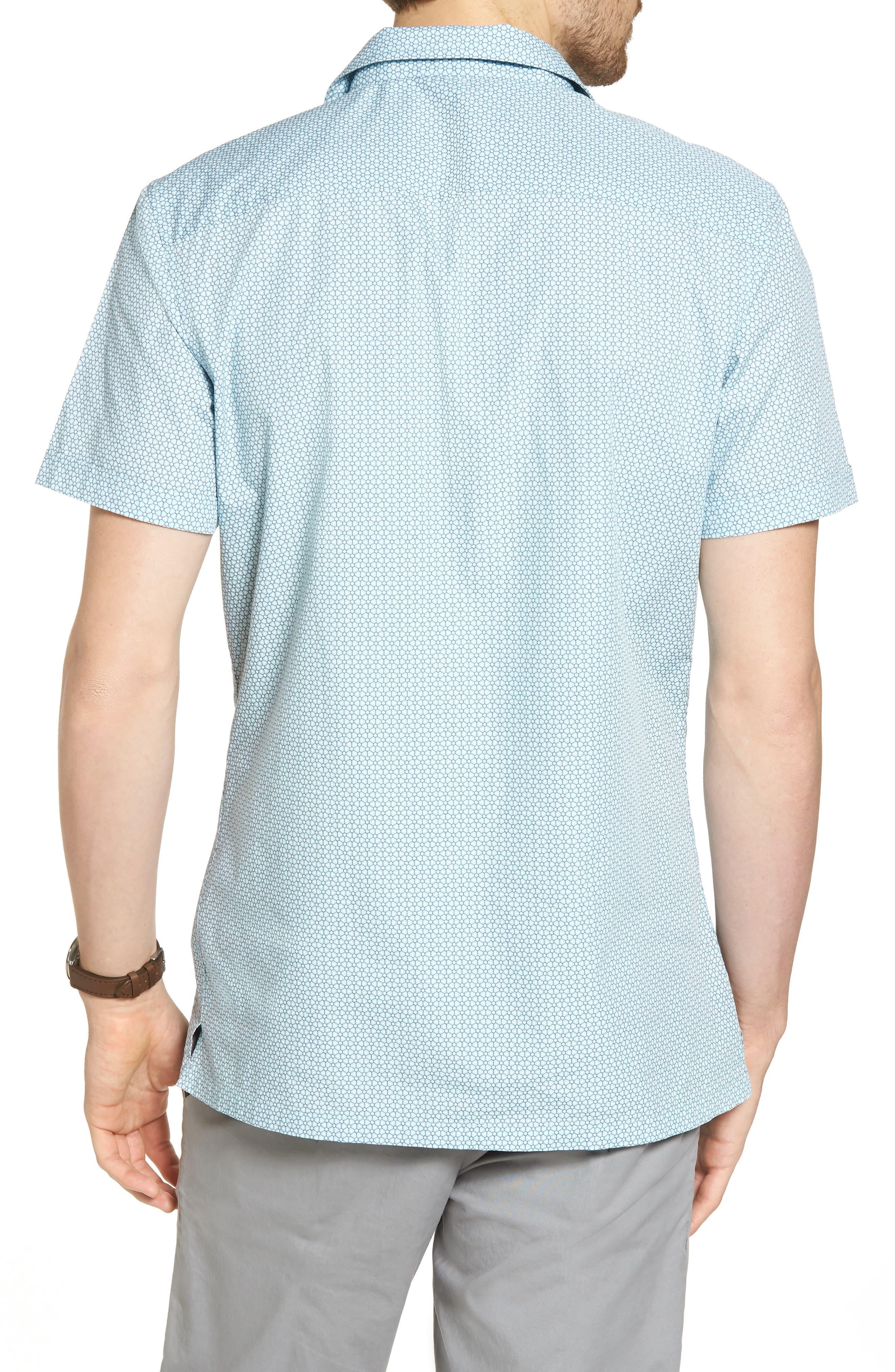 Trim Fit Stretch Geometric Camp Shirt,                             Alternate thumbnail 3, color,                             Blue Orydalis Honeycomb