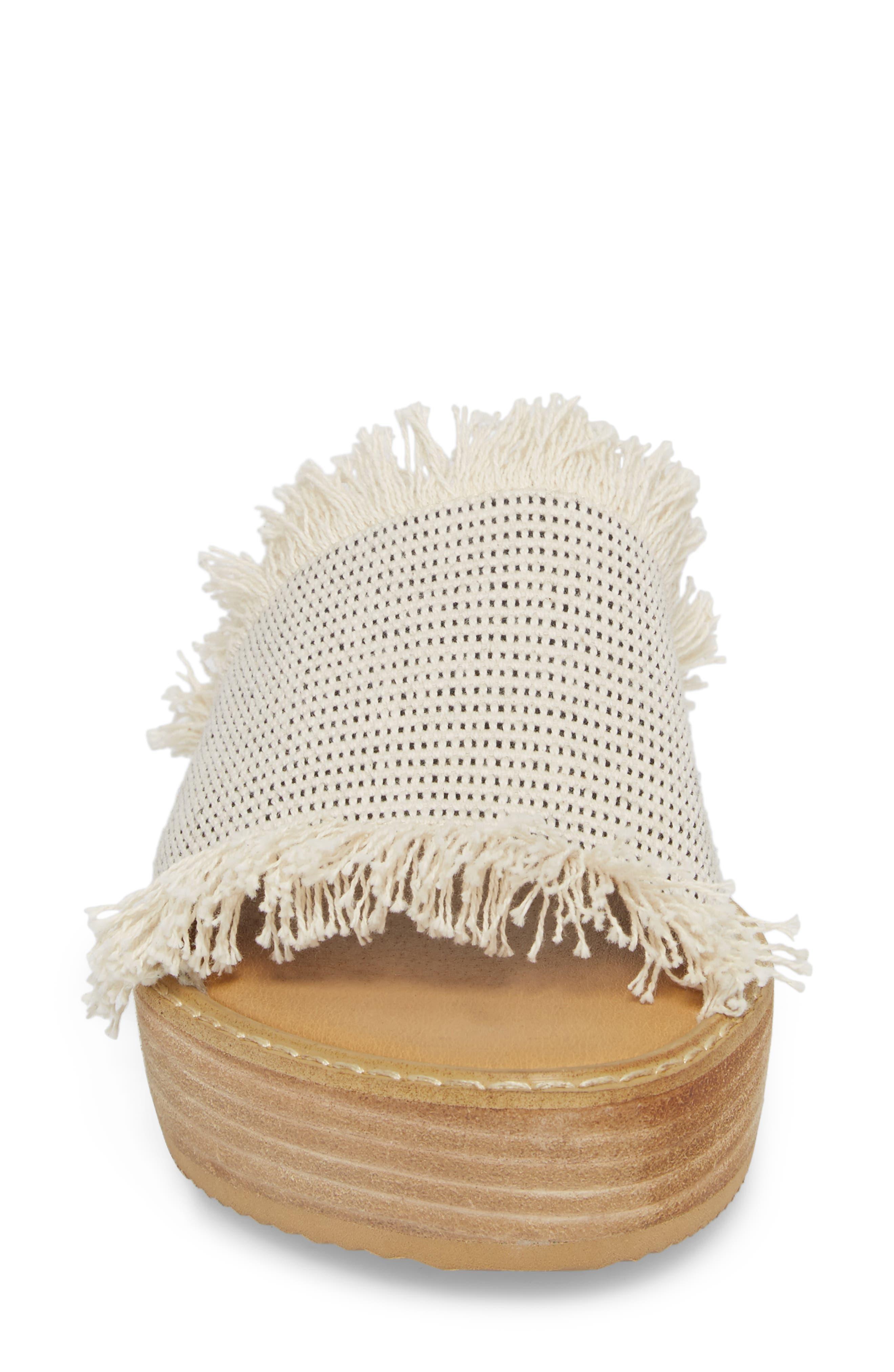 Ebony Platform Sandal,                             Alternate thumbnail 4, color,                             White/ Black Osaka Fabric