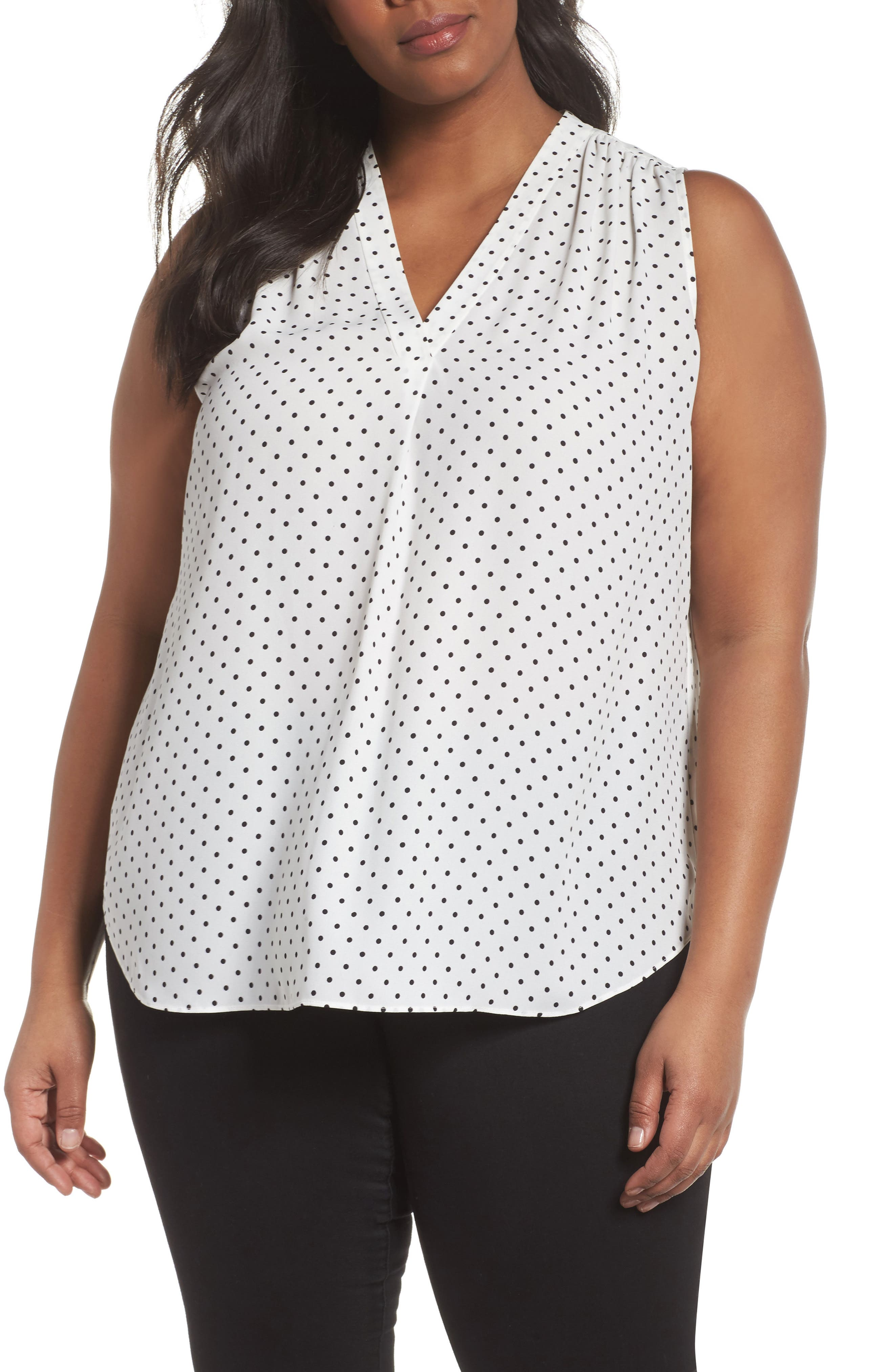 Poetic Dots Sleeveless V-Neck Blouse,                         Main,                         color, New Ivory