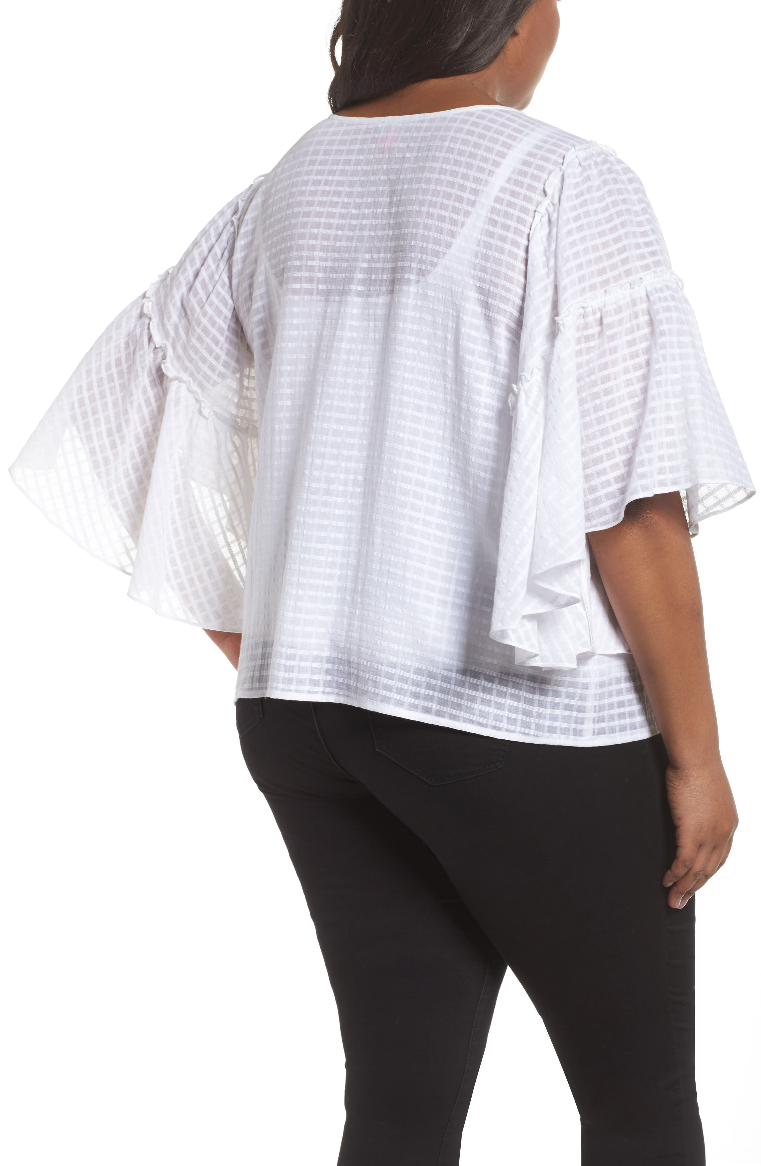 Textured Grid Ruffle Drop Shoulder Blouse,                             Alternate thumbnail 2, color,                             Ultra White