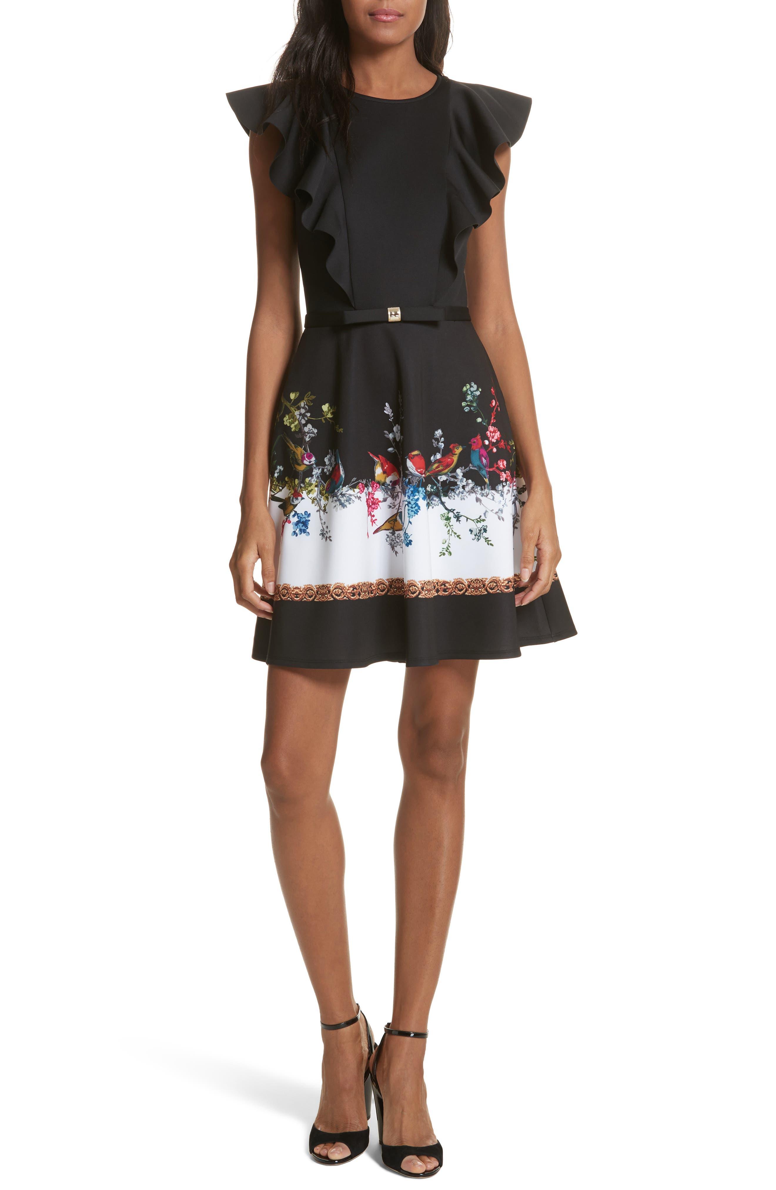 Opulent Fauna Ruffled Skater Dress,                             Main thumbnail 1, color,                             Black