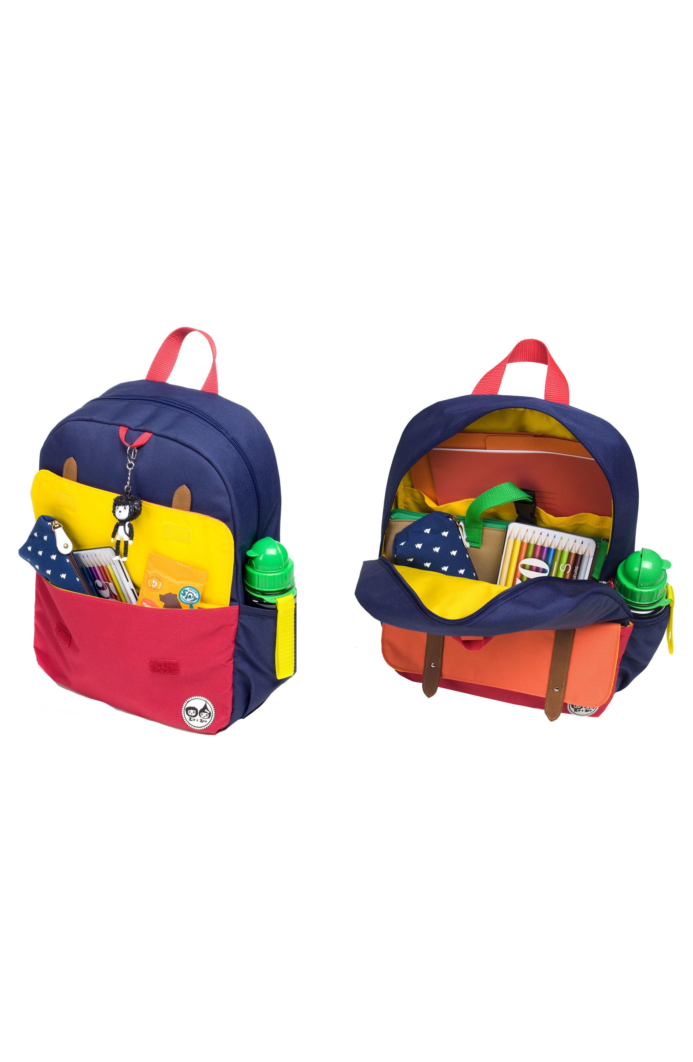 Zip & Zoe Colorblock Junior Backpack,                             Alternate thumbnail 9, color,                             Blue