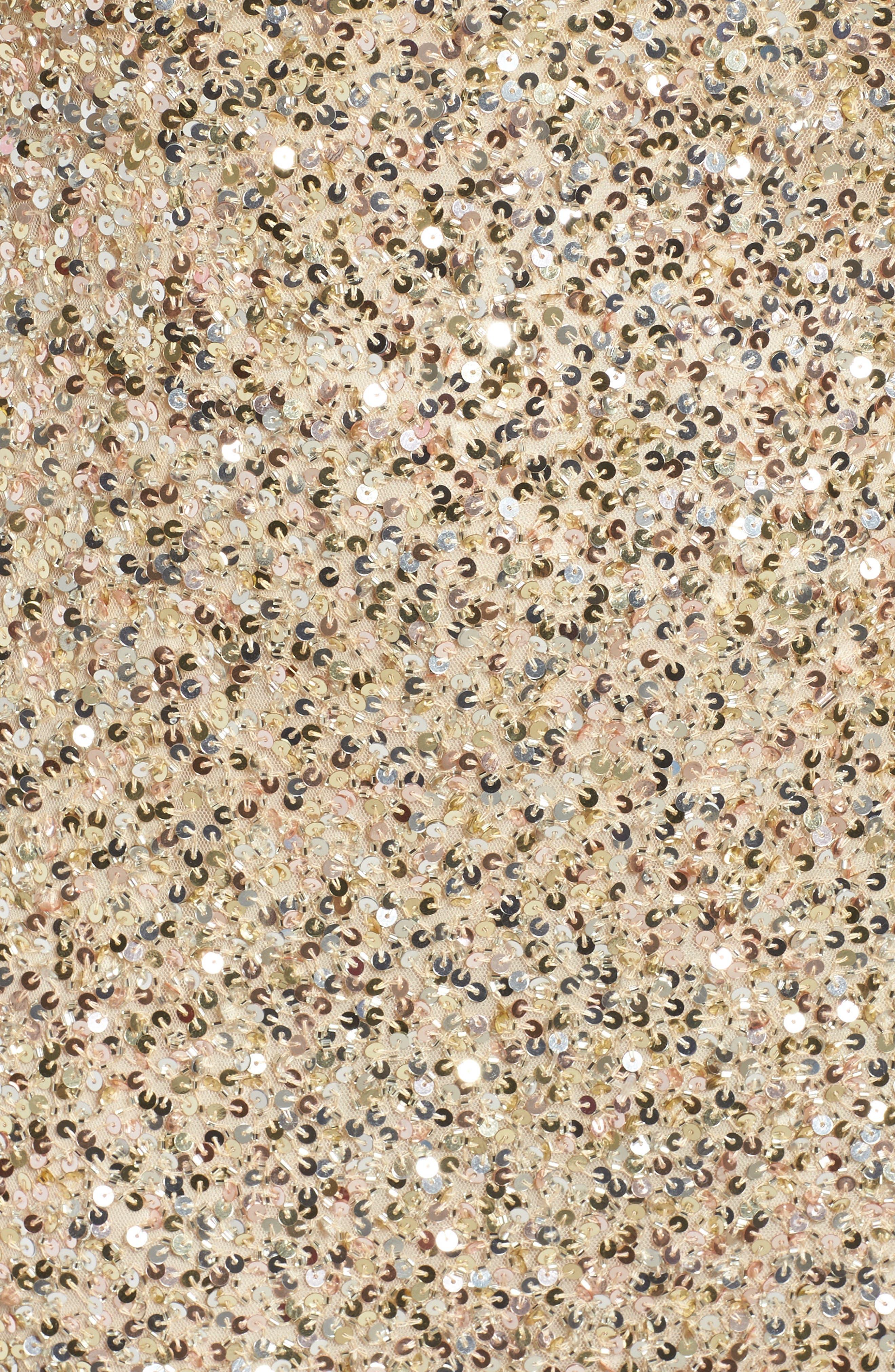 Front Slit Sequin Gown,                             Alternate thumbnail 5, color,                             Gold Multi