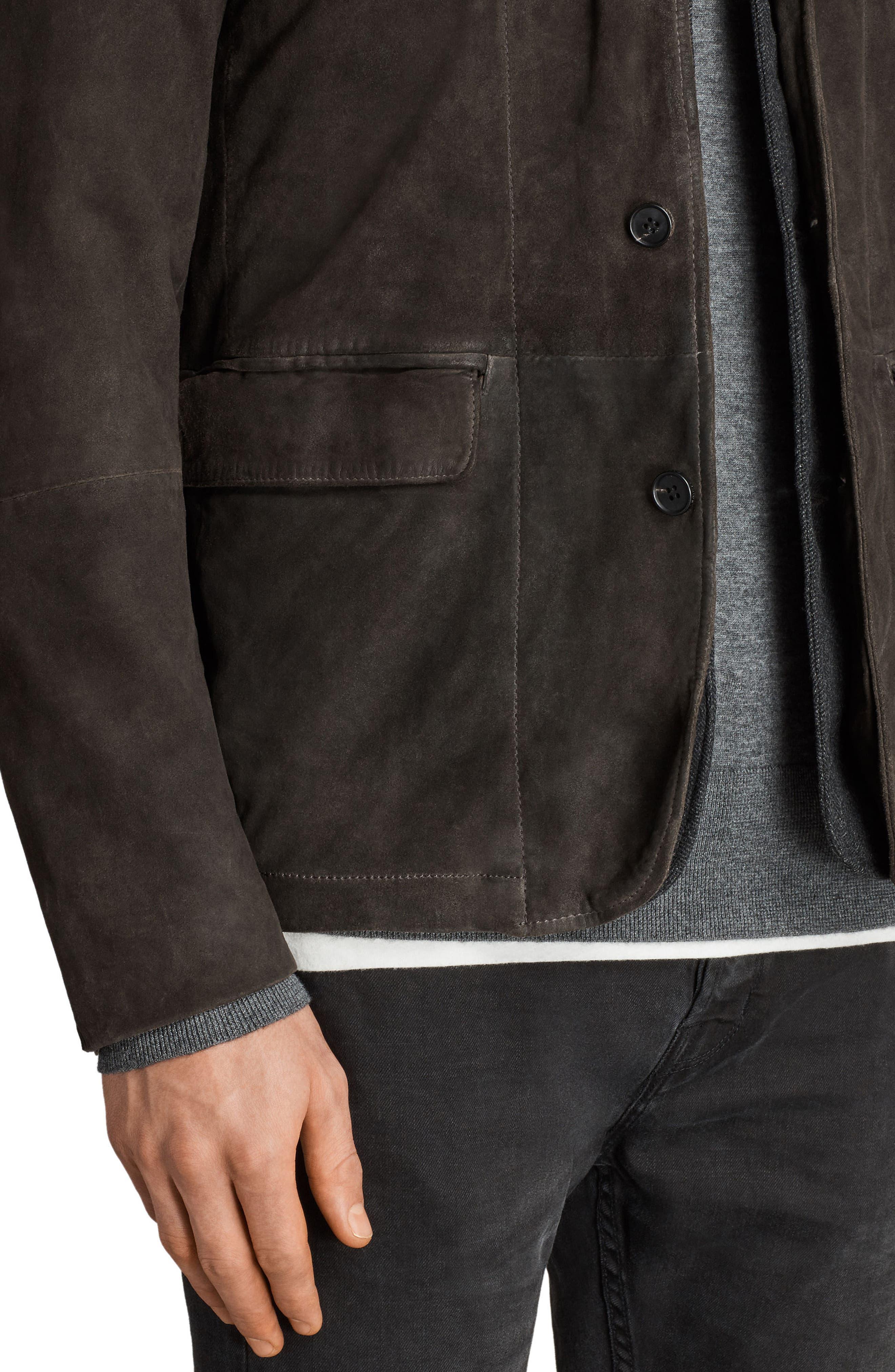 Survey Leather Blazer,                             Alternate thumbnail 3, color,                             Anthracite Grey
