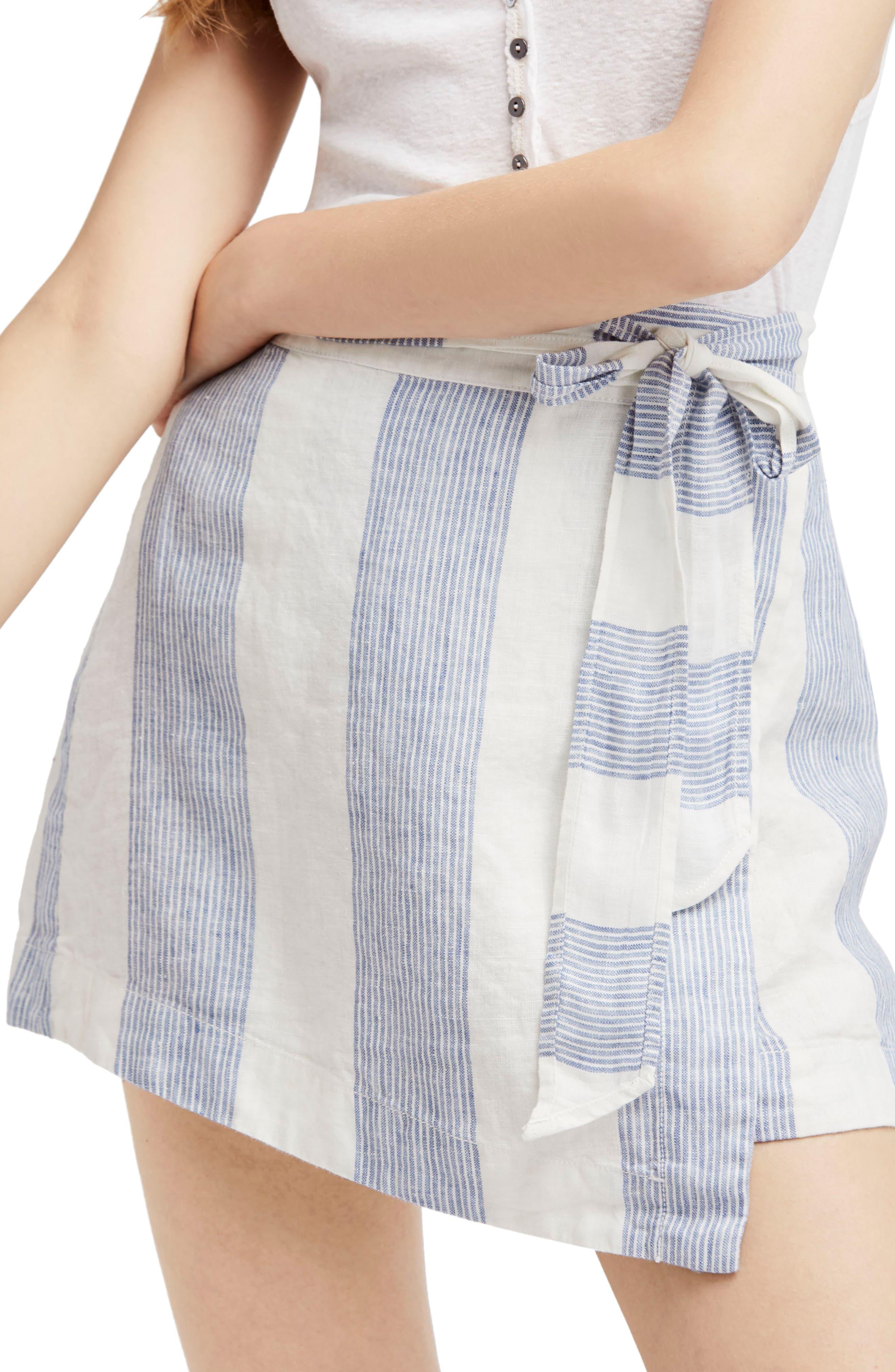 Free People Uptown Days Linen Wrap Miniskirt