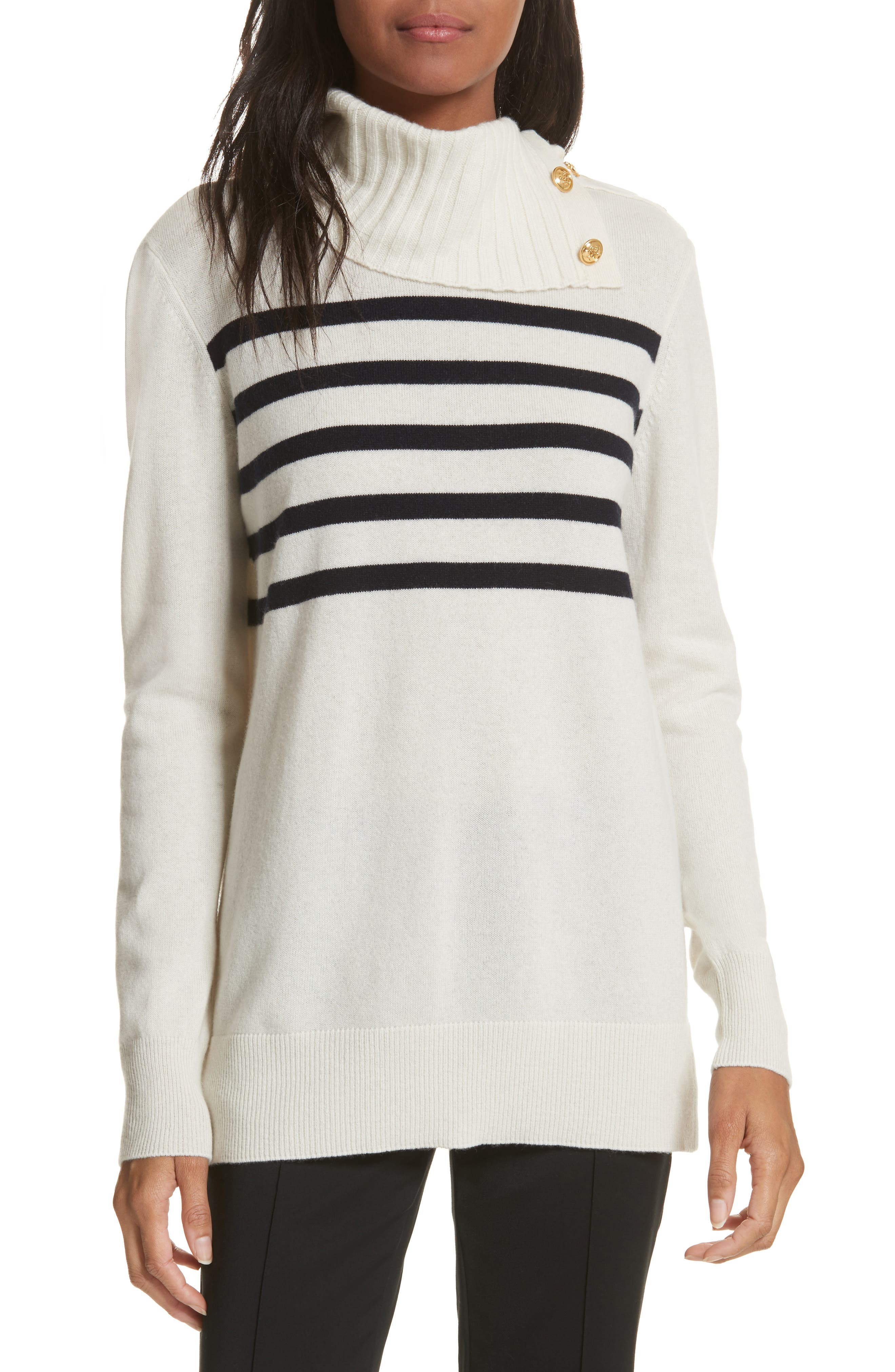 Sandra Cashmere Sweater,                         Main,                         color, New Ivory / Tory Navy