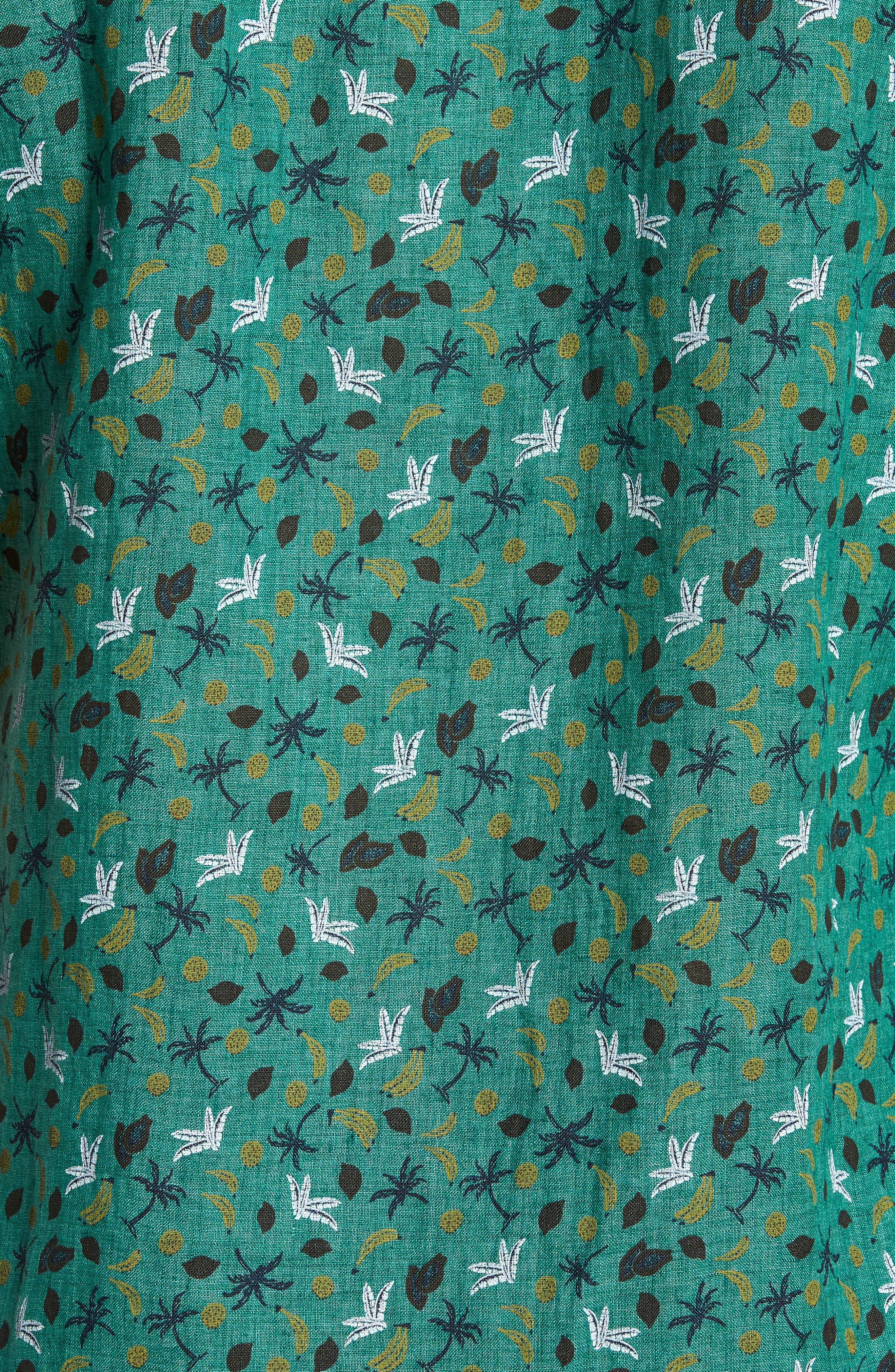 Canoe Creek Tropical Print Linen Sport Shirt,                             Alternate thumbnail 5, color,                             Bamboo