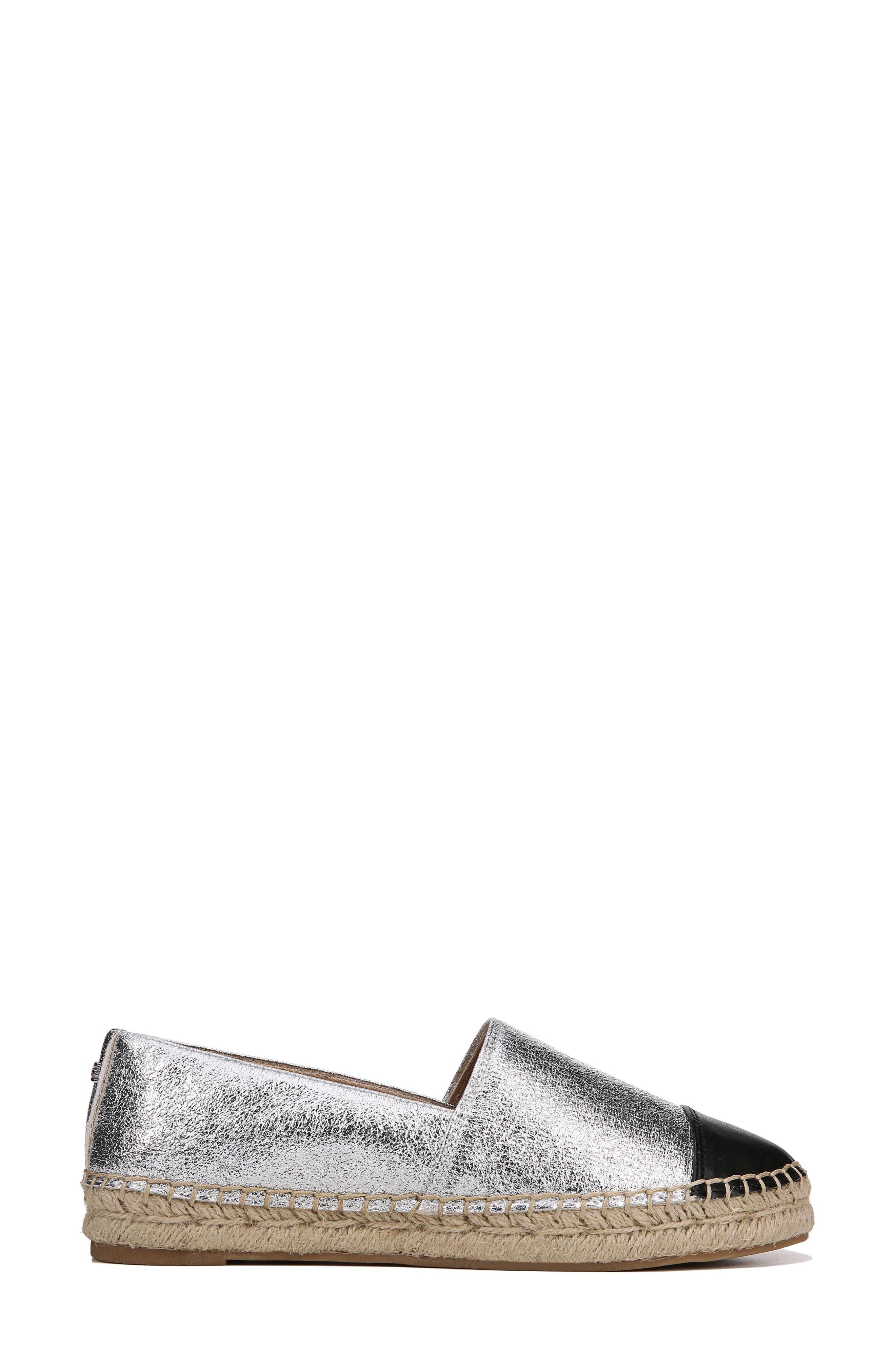 Krissy Espadrille Flat,                             Alternate thumbnail 3, color,                             Soft Silver Fabric