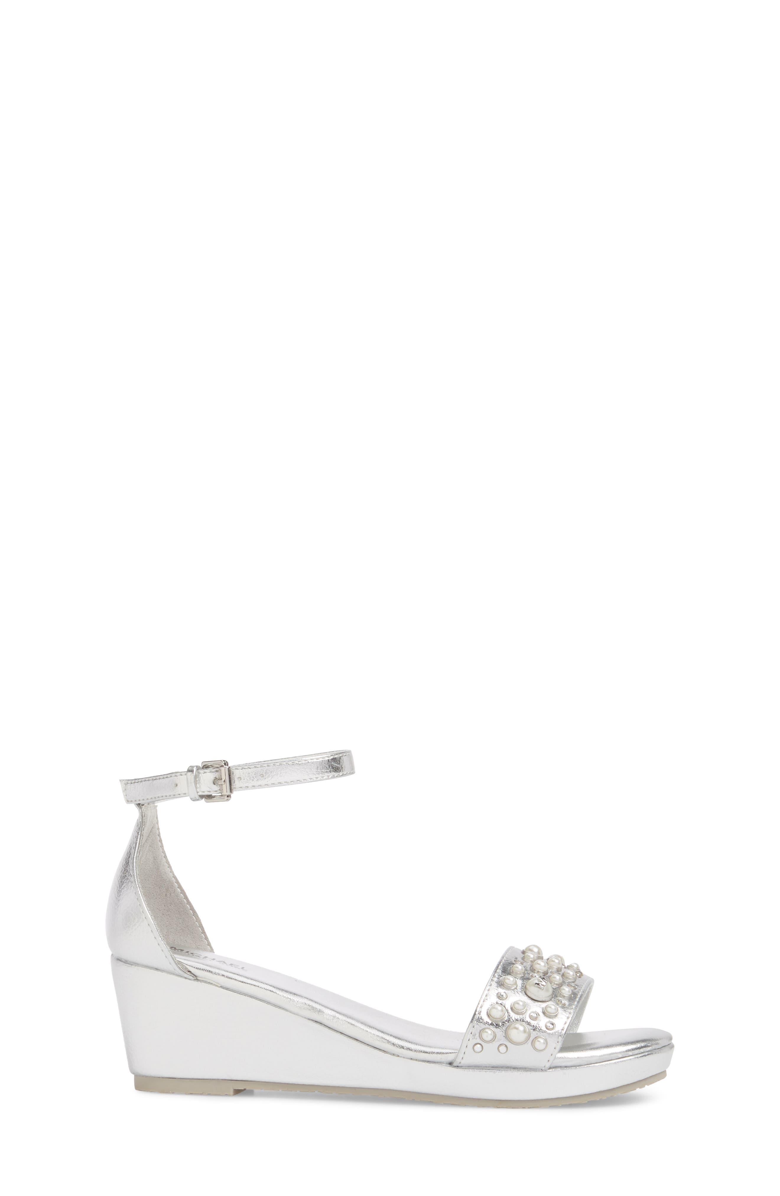 Cate Embellished Wedge Sandal,                             Alternate thumbnail 3, color,                             Silver