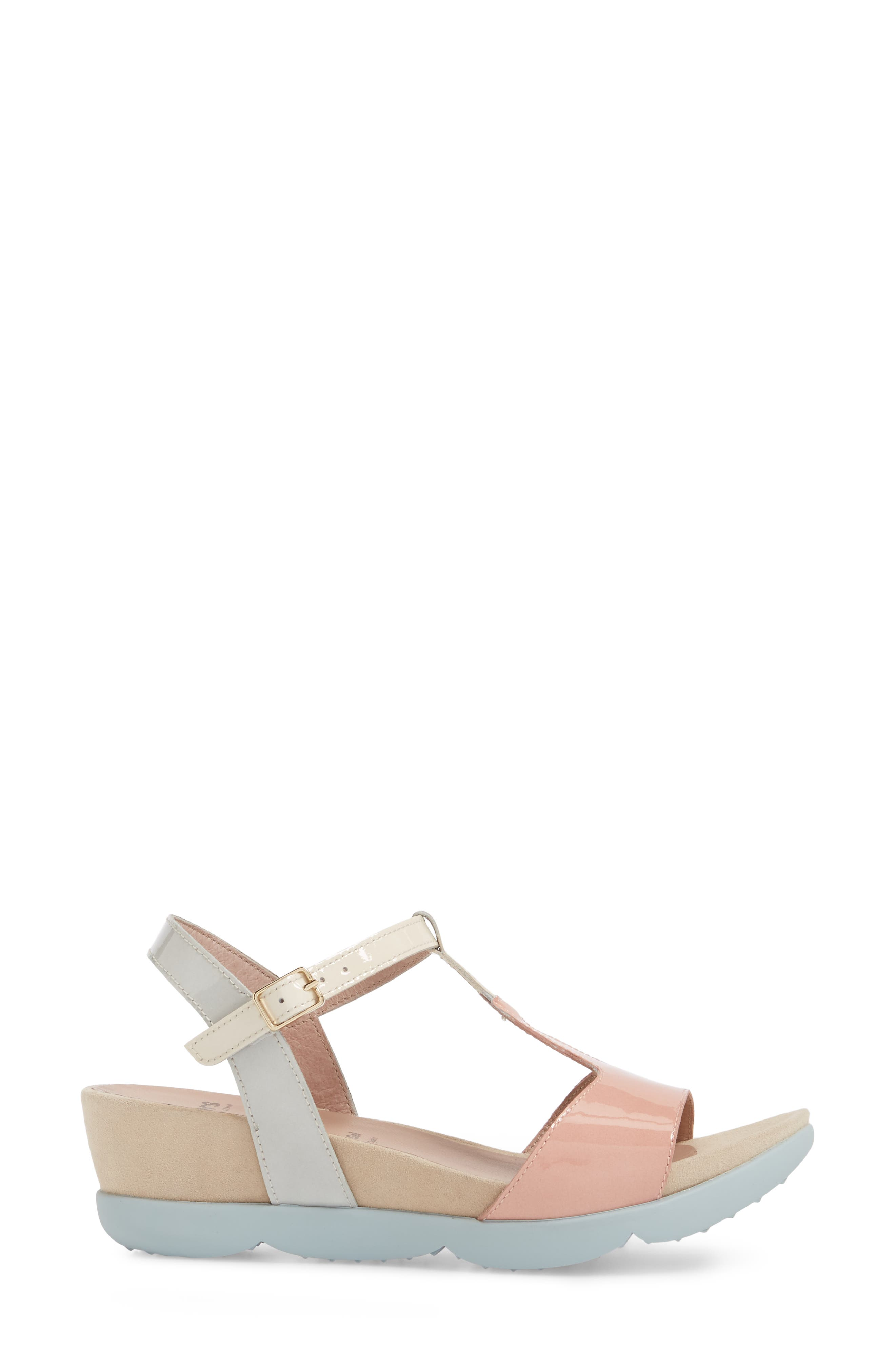 Wedge Sandal,                             Alternate thumbnail 3, color,                             Nude/ Off/ Light Grey Leather
