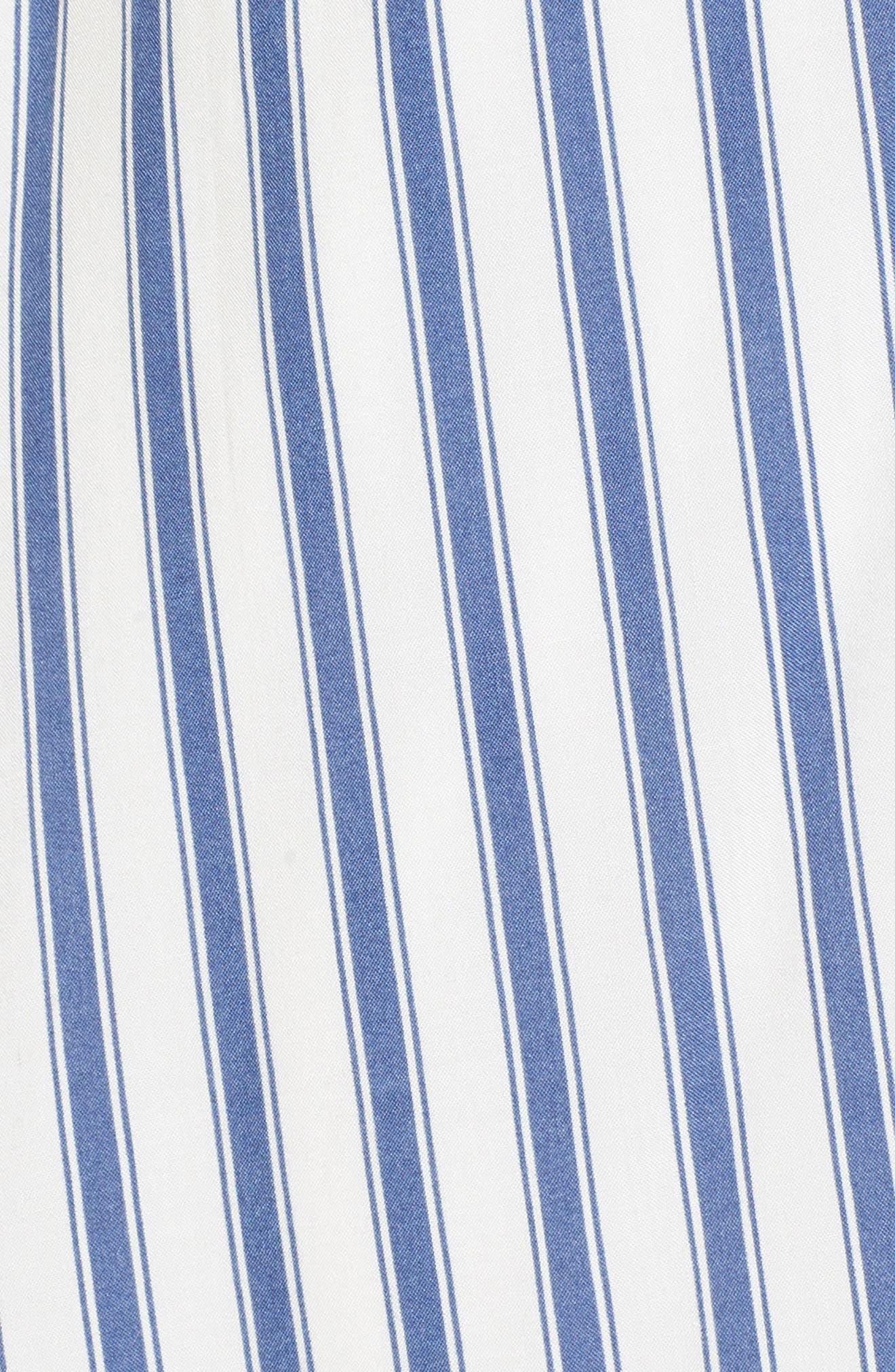Cinch Front Minidress,                             Alternate thumbnail 5, color,                             Blue/ White Stripe