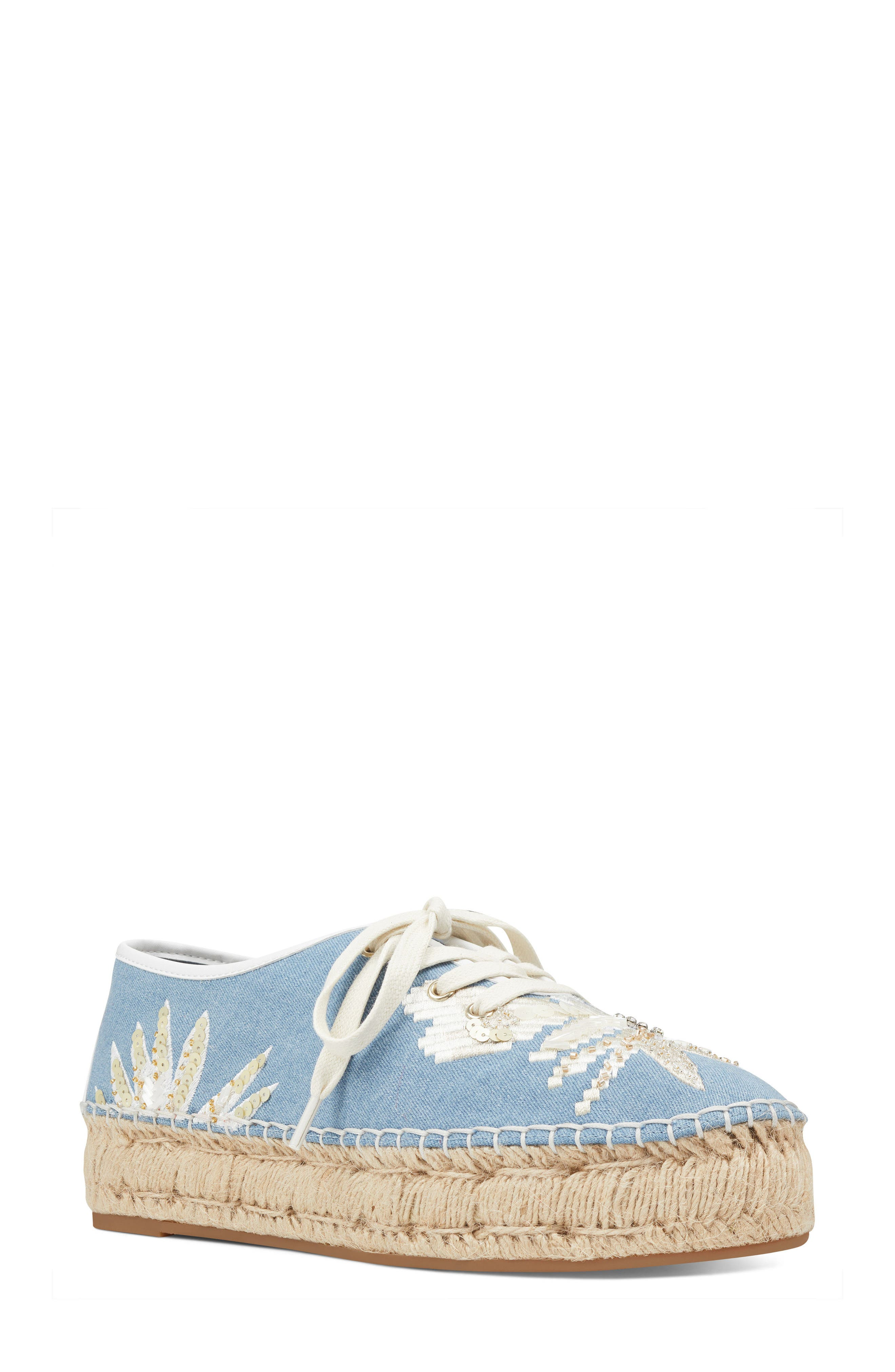 Guinup Embellished Espadrille Sneaker,                             Main thumbnail 1, color,                             Light Blue/ White Denim