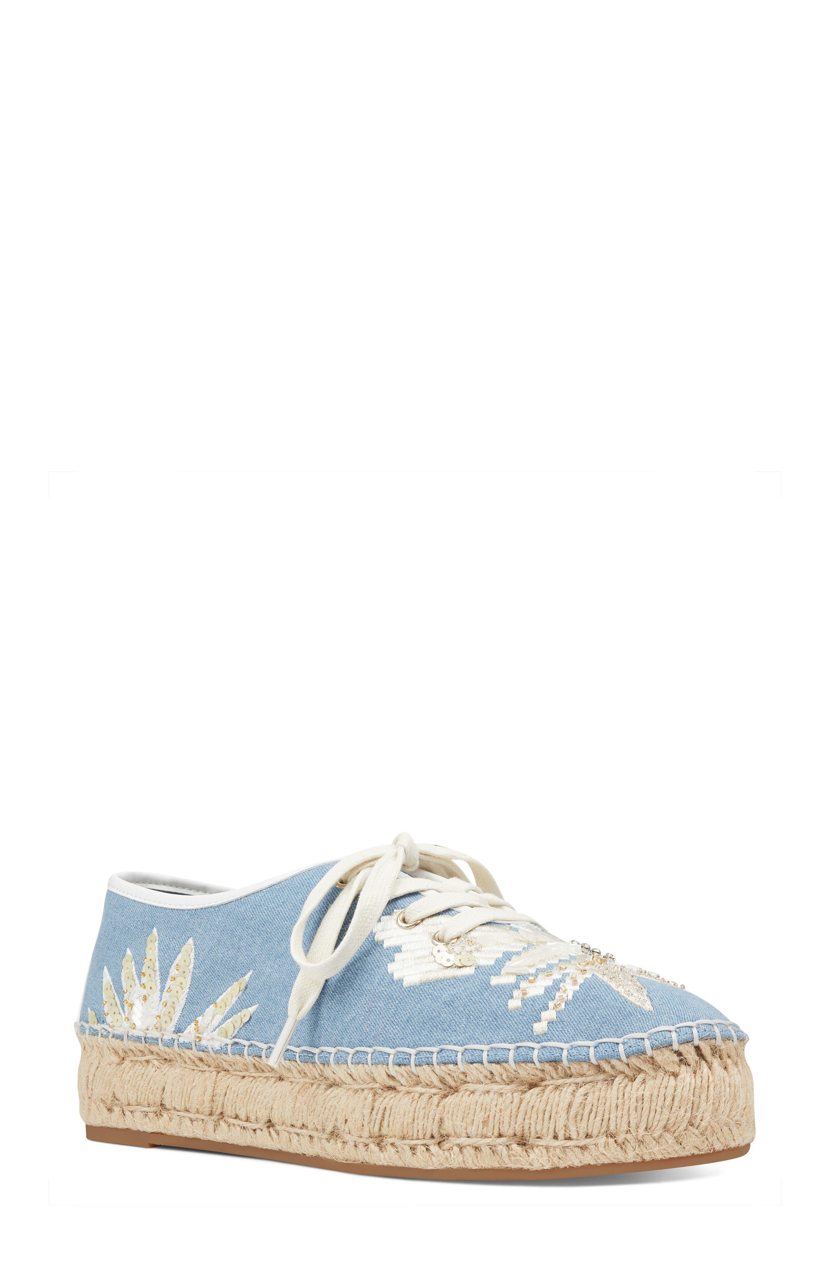 Guinup Embellished Espadrille Sneaker,                         Main,                         color, Light Blue/ White Denim