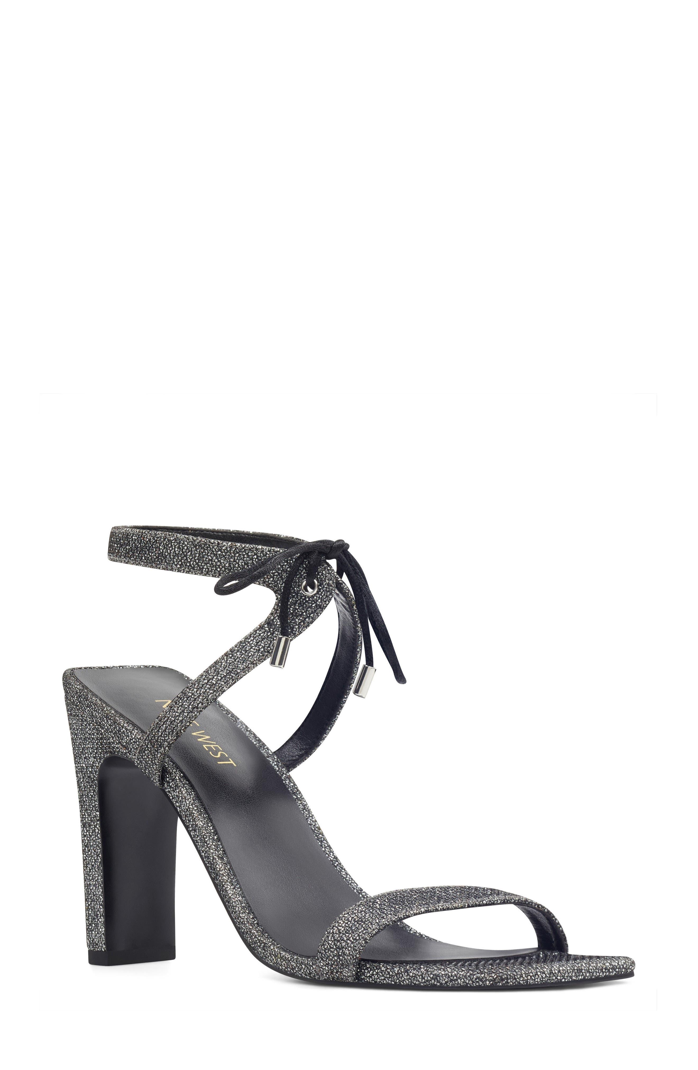 Longitano Squared Toe Sandal,                             Main thumbnail 1, color,                             Black/ Silver Fabric