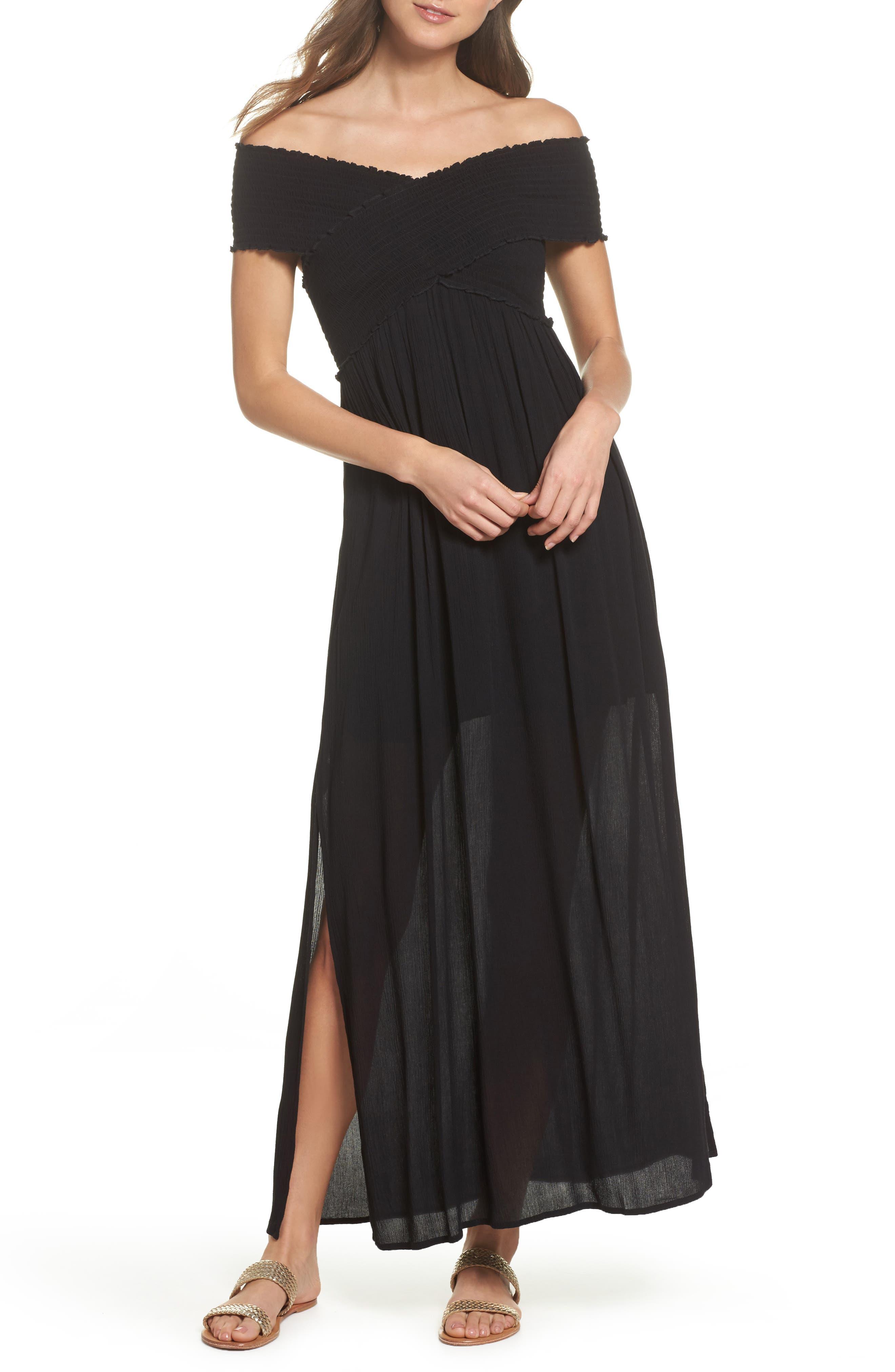 Smocked Off-the-Shoulder Cover-Up Maxi Dress,                         Main,                         color, Black