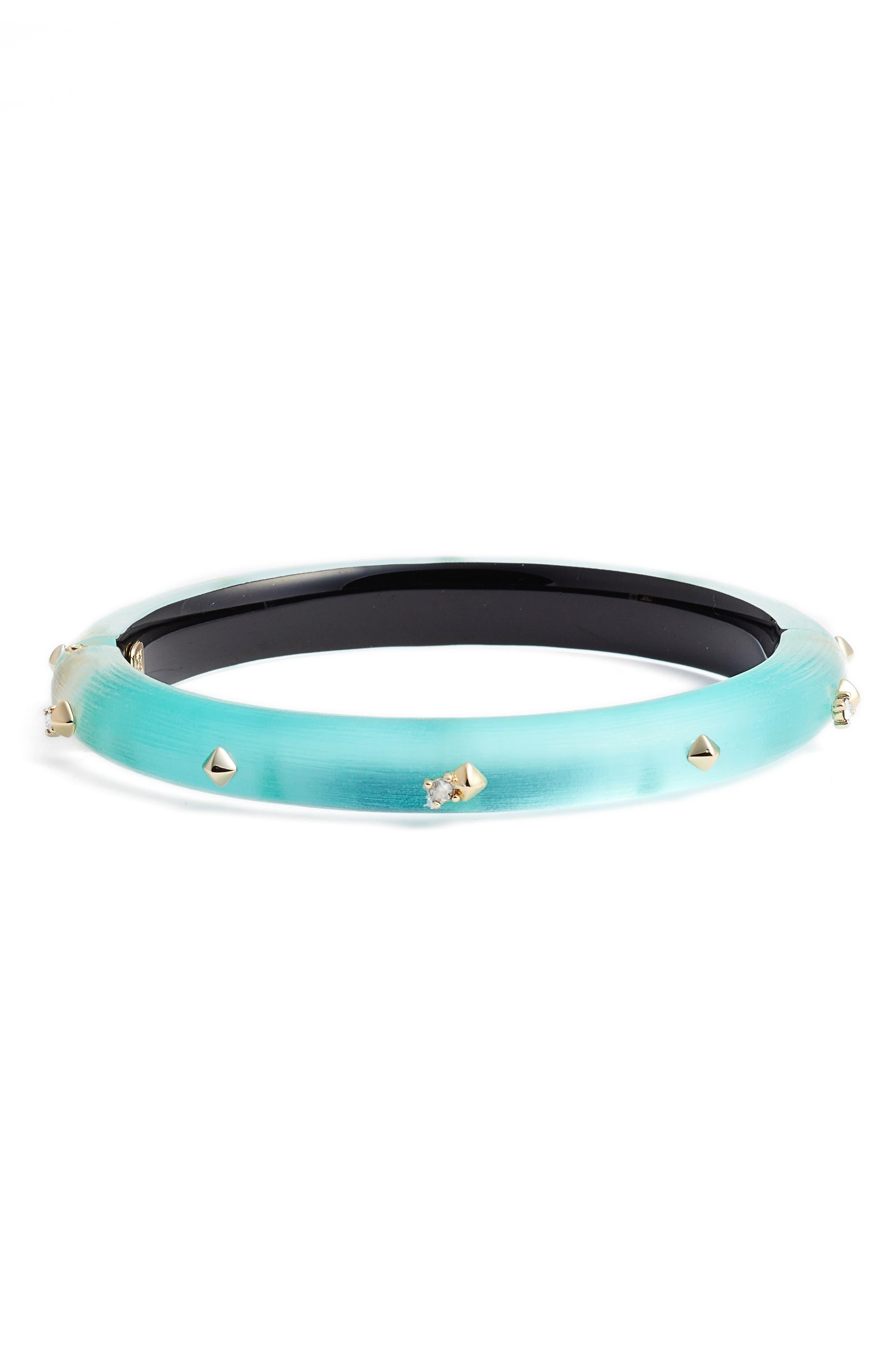 Golden Stud Hinge Bracelet,                             Main thumbnail 1, color,                             Mint Green