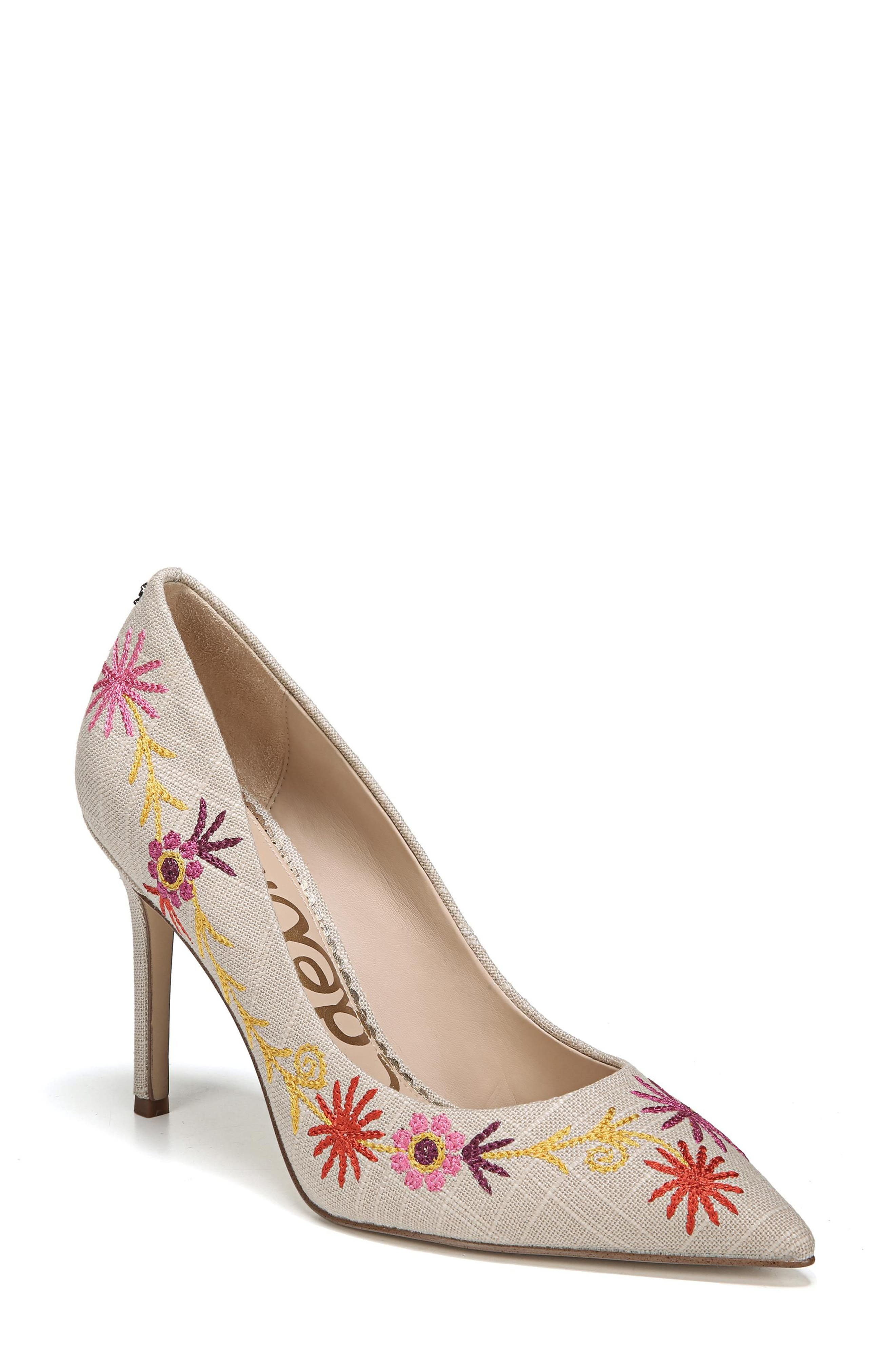 Hazel Pointy Toe Pump,                         Main,                         color, Yellow Embroidery Suede