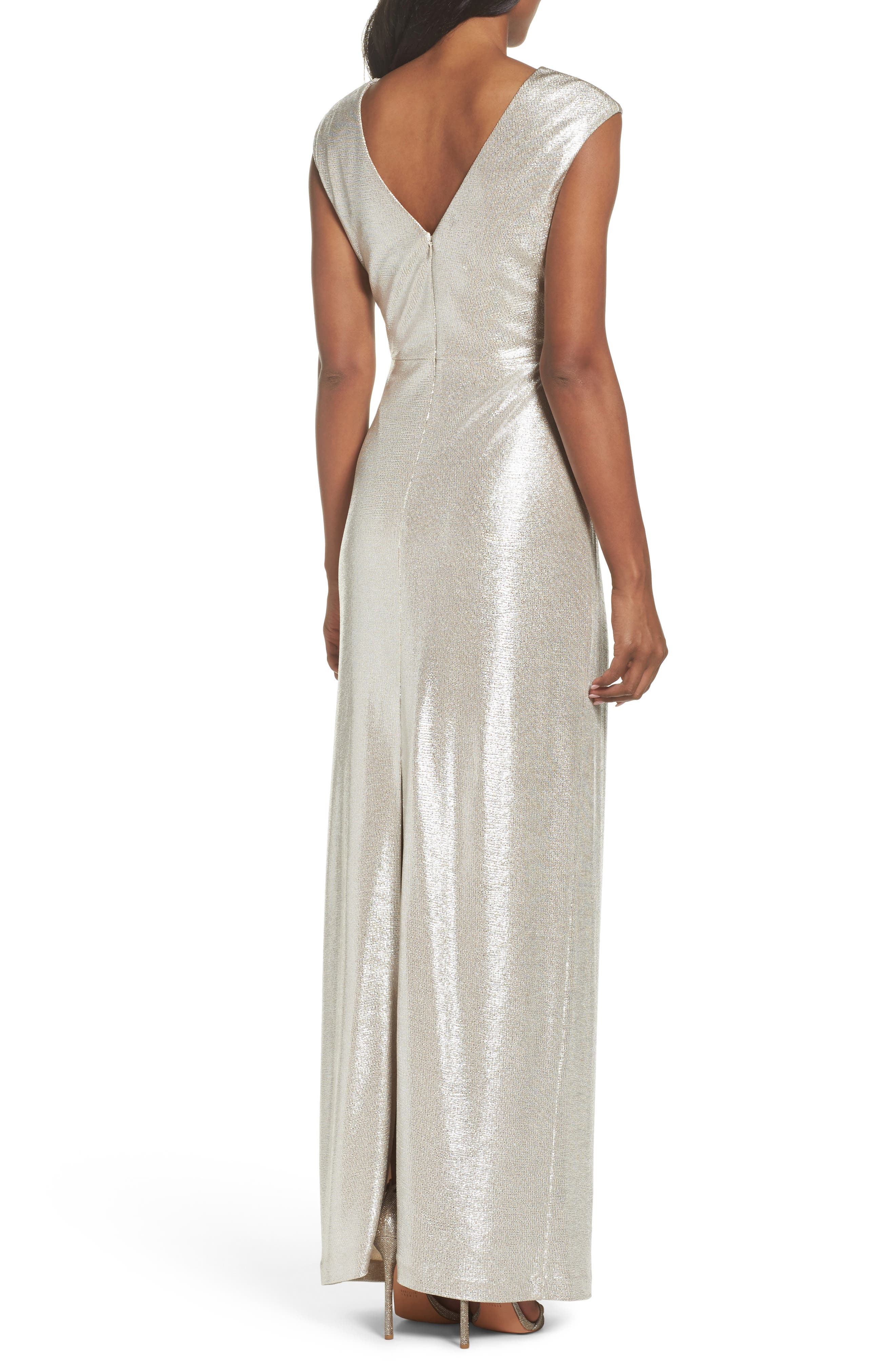 Twist Front Gown,                             Alternate thumbnail 2, color,                             Silver