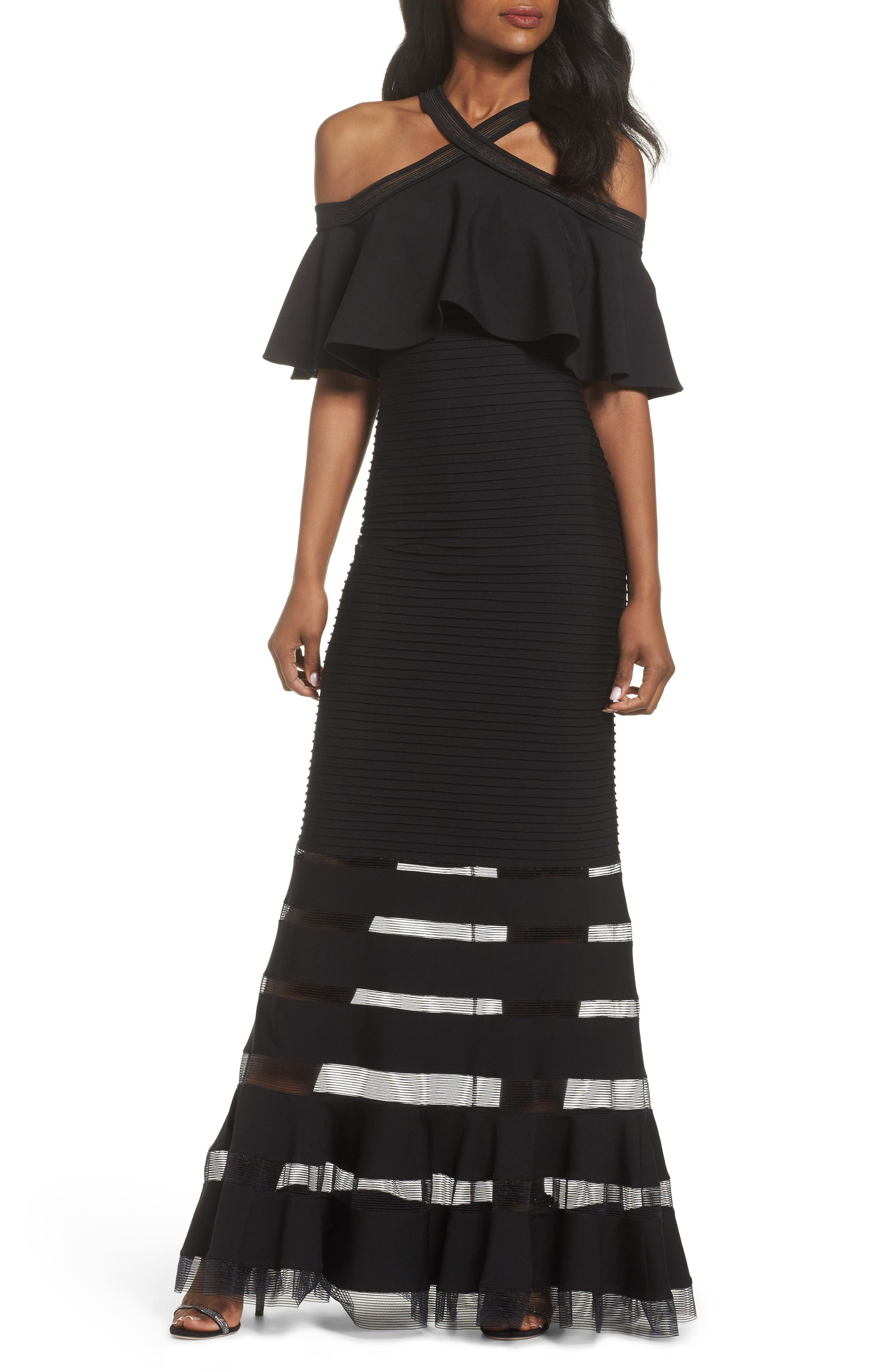 Jersey Cold-Shoulder Gown,                         Main,                         color, Black