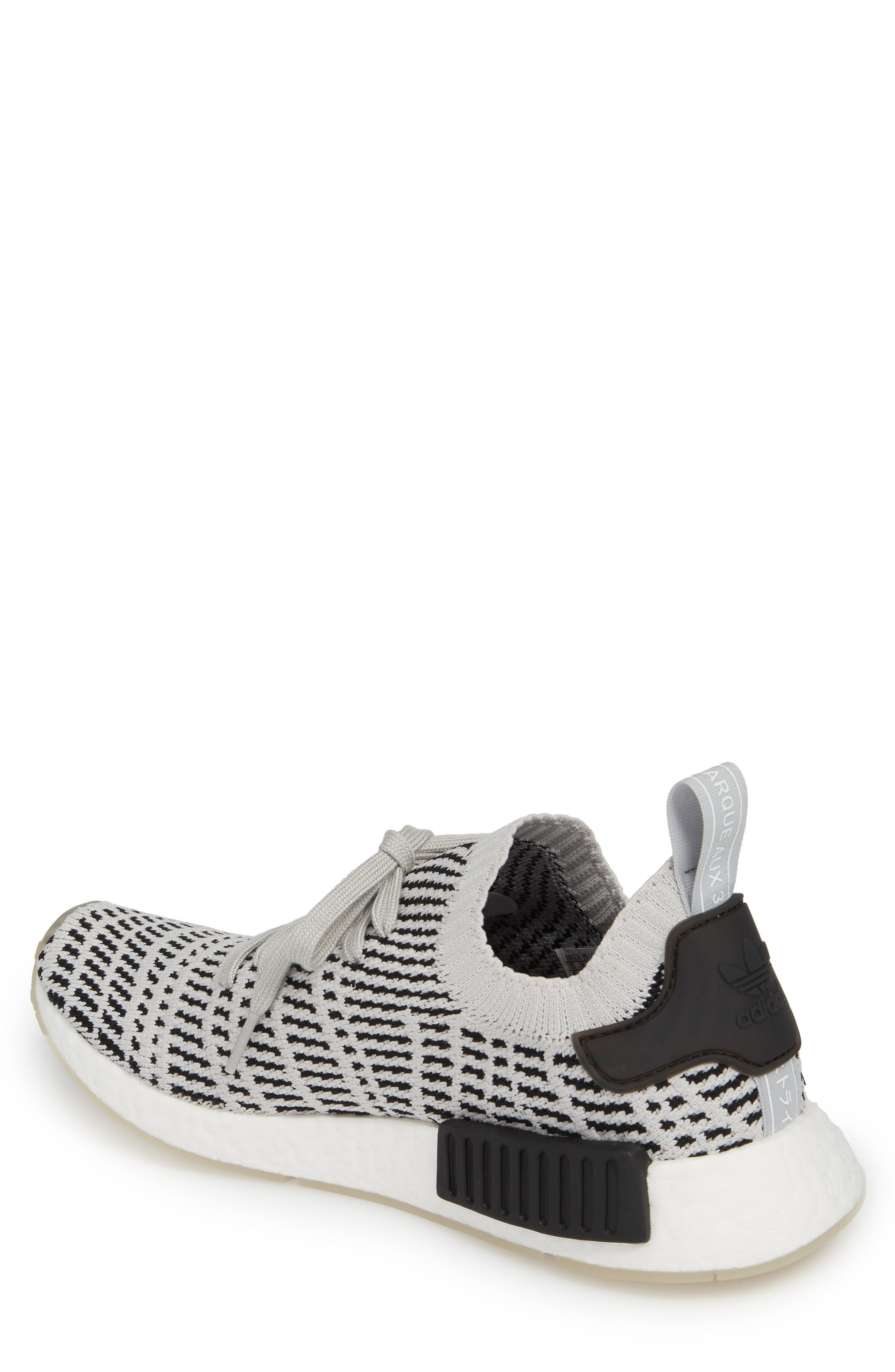 NMD R1 STLT Primeknit Sneaker,                             Alternate thumbnail 2, color,                             Grey/ Core Black