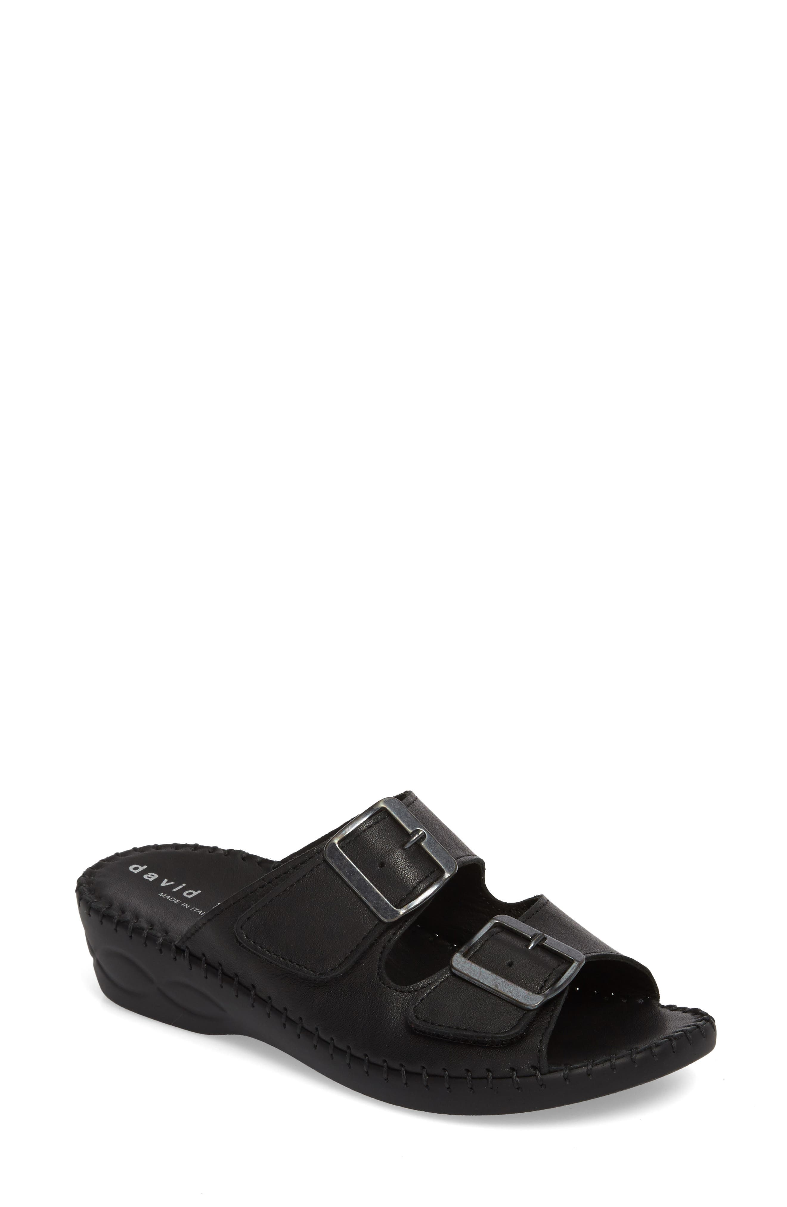 Sol Sandal,                             Main thumbnail 1, color,                             Black Leather