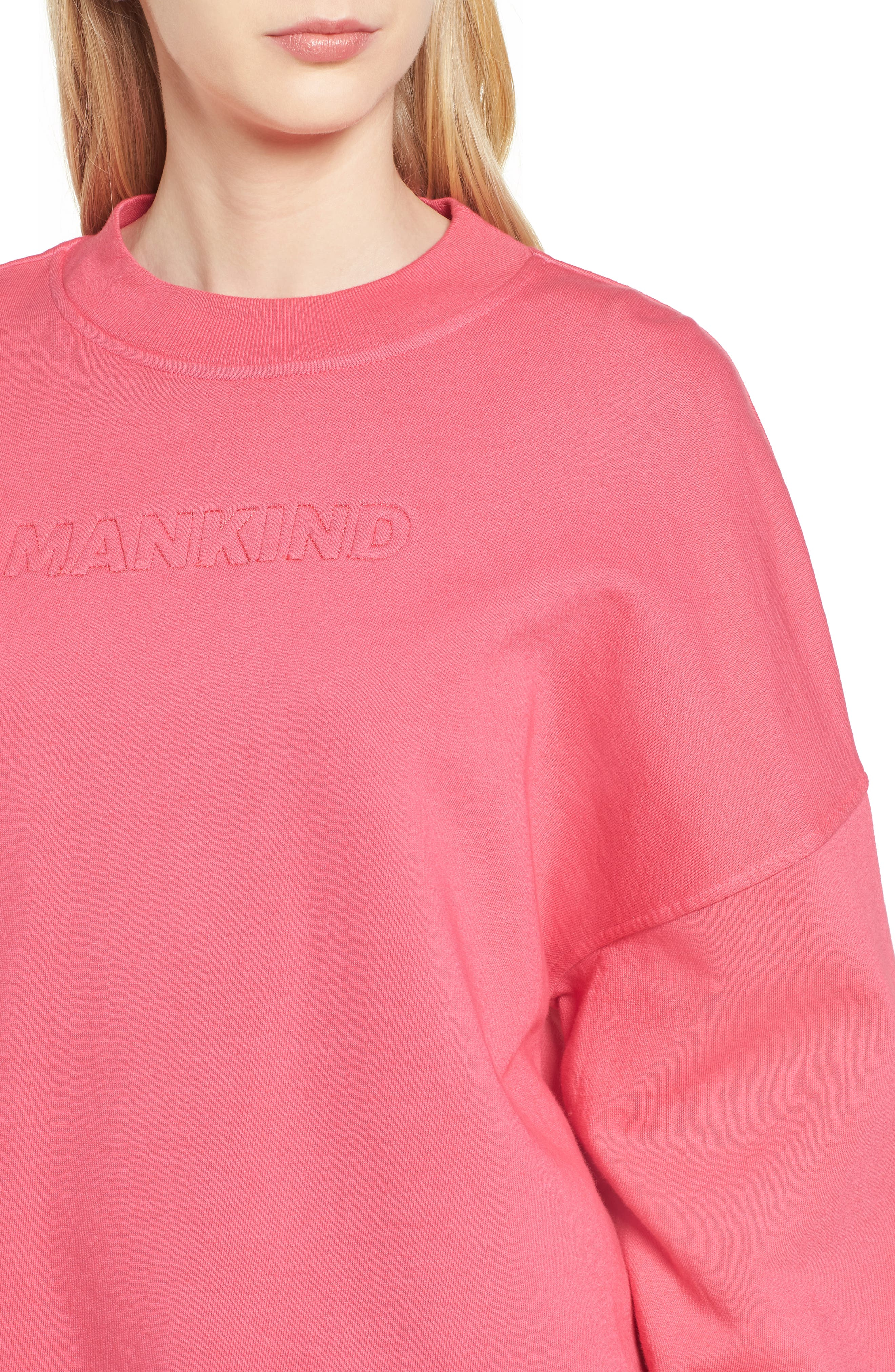 Mankind Outline Embroidered Sweatshirt,                             Alternate thumbnail 4, color,                             Honeysuckle