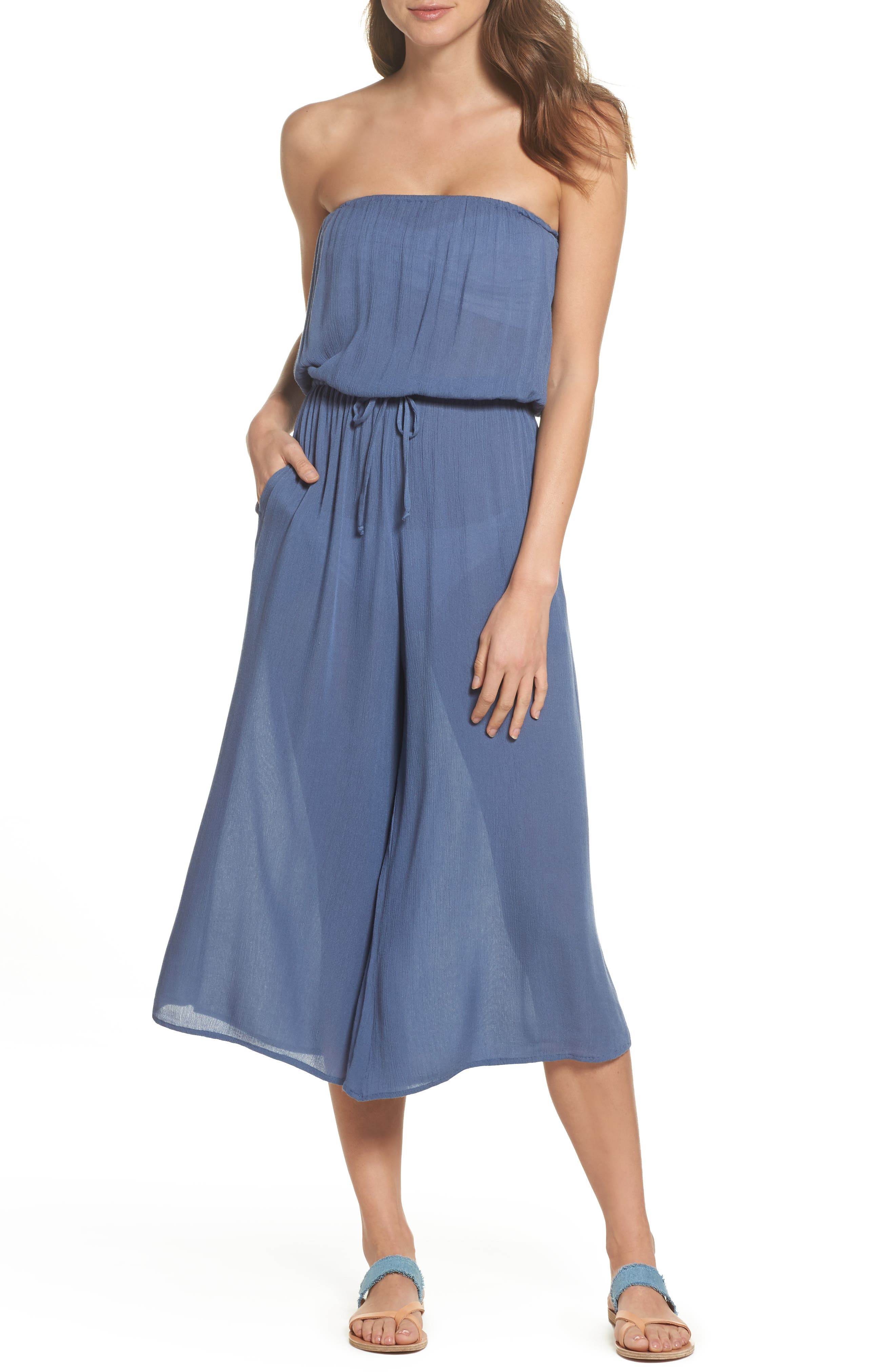 Strapless Cover-Up Jumpsuit,                         Main,                         color, Indigo