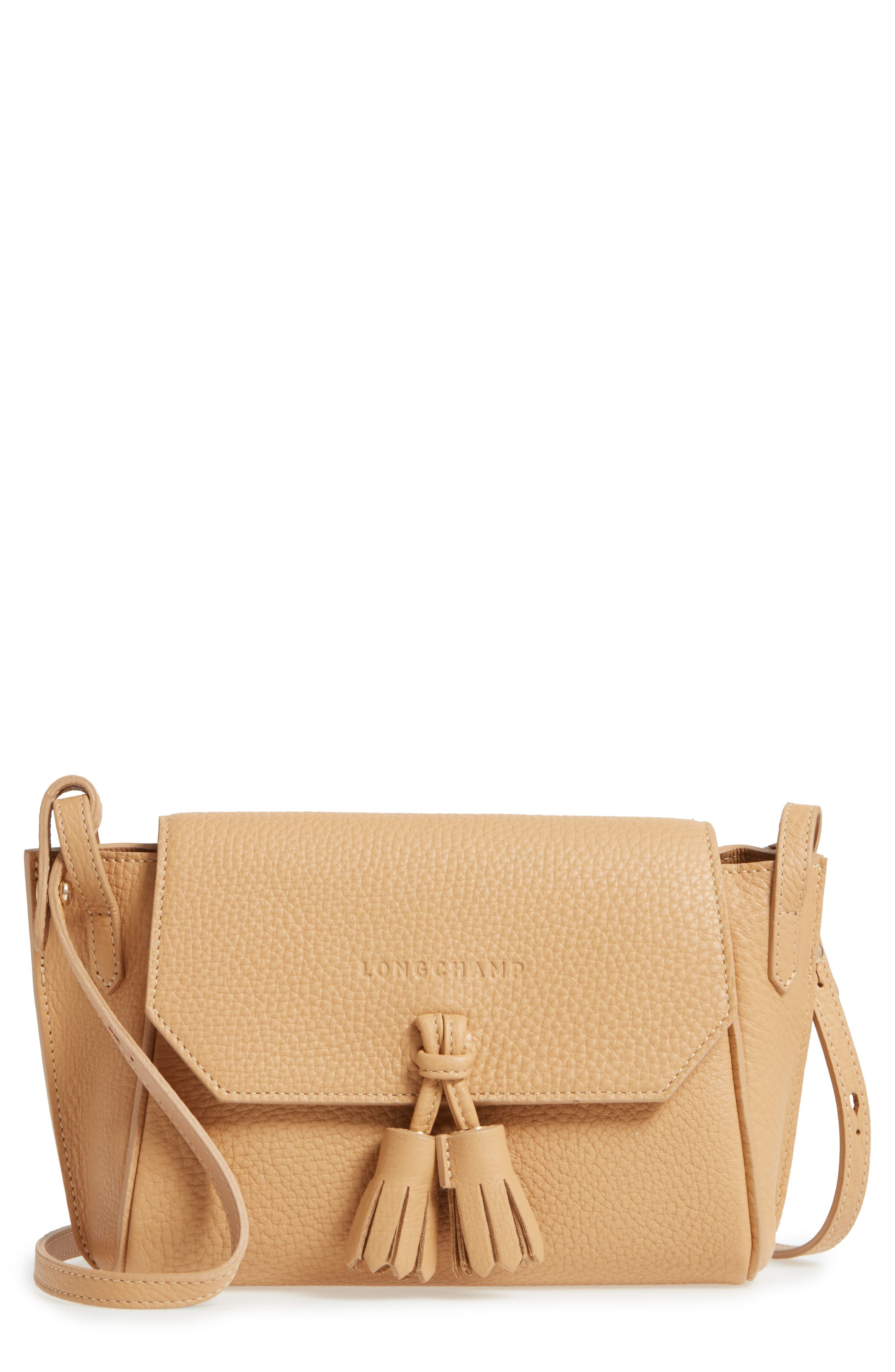 9705445b6750 LONGCHAMP PENELOPE LEATHER CROSSBODY BAG - BEIGE