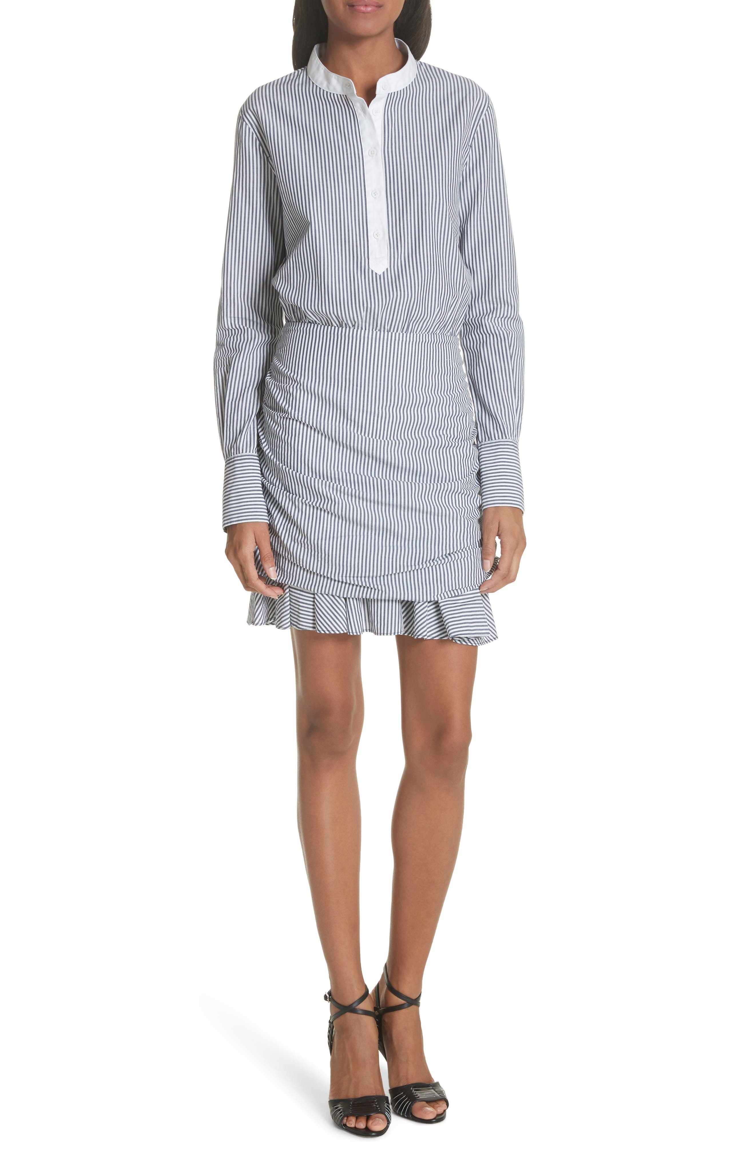 Everett Stripe Shirtdress,                             Main thumbnail 1, color,                             Black/ White Stripe