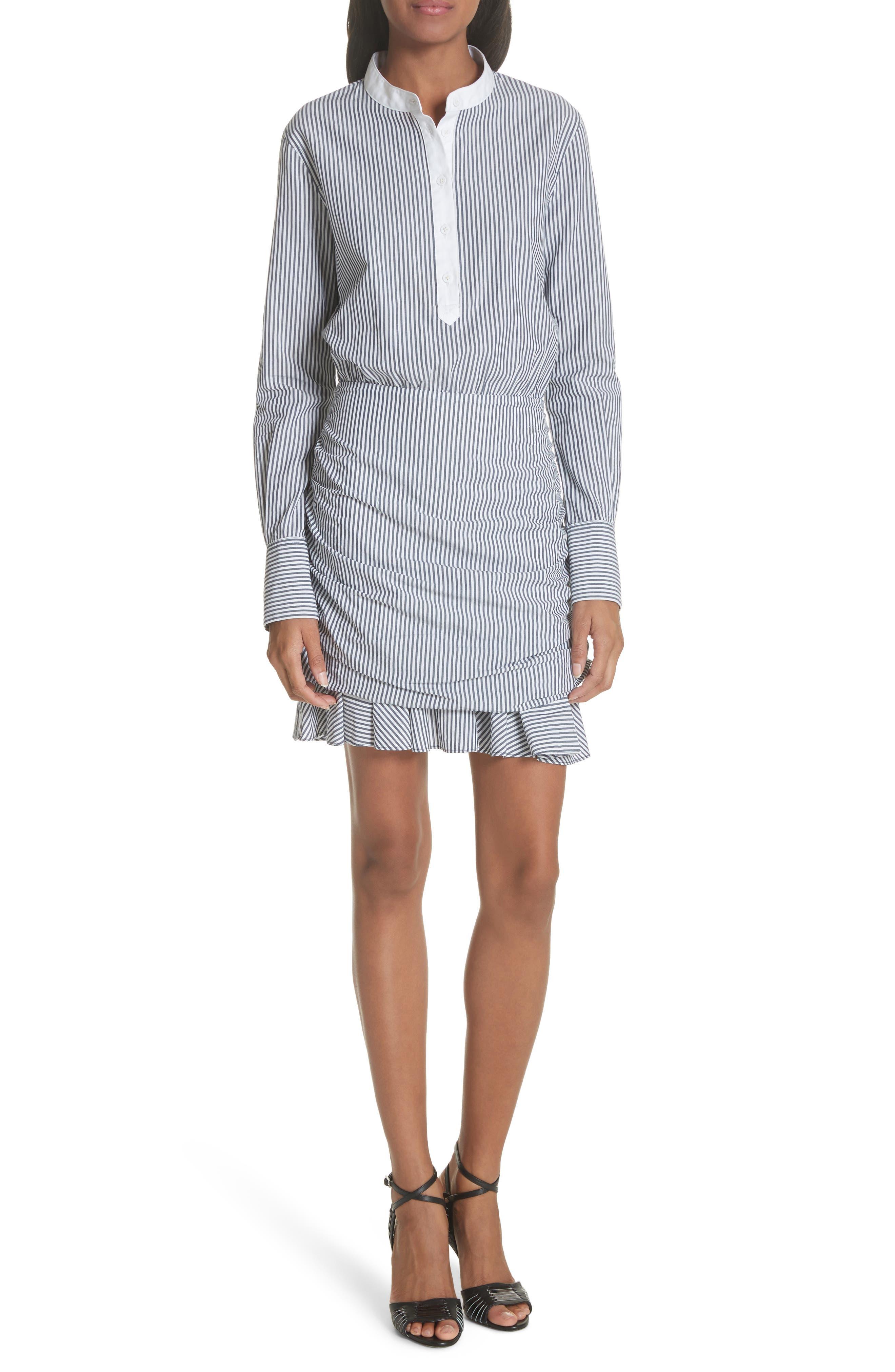 Everett Stripe Shirtdress,                         Main,                         color, Black/ White Stripe