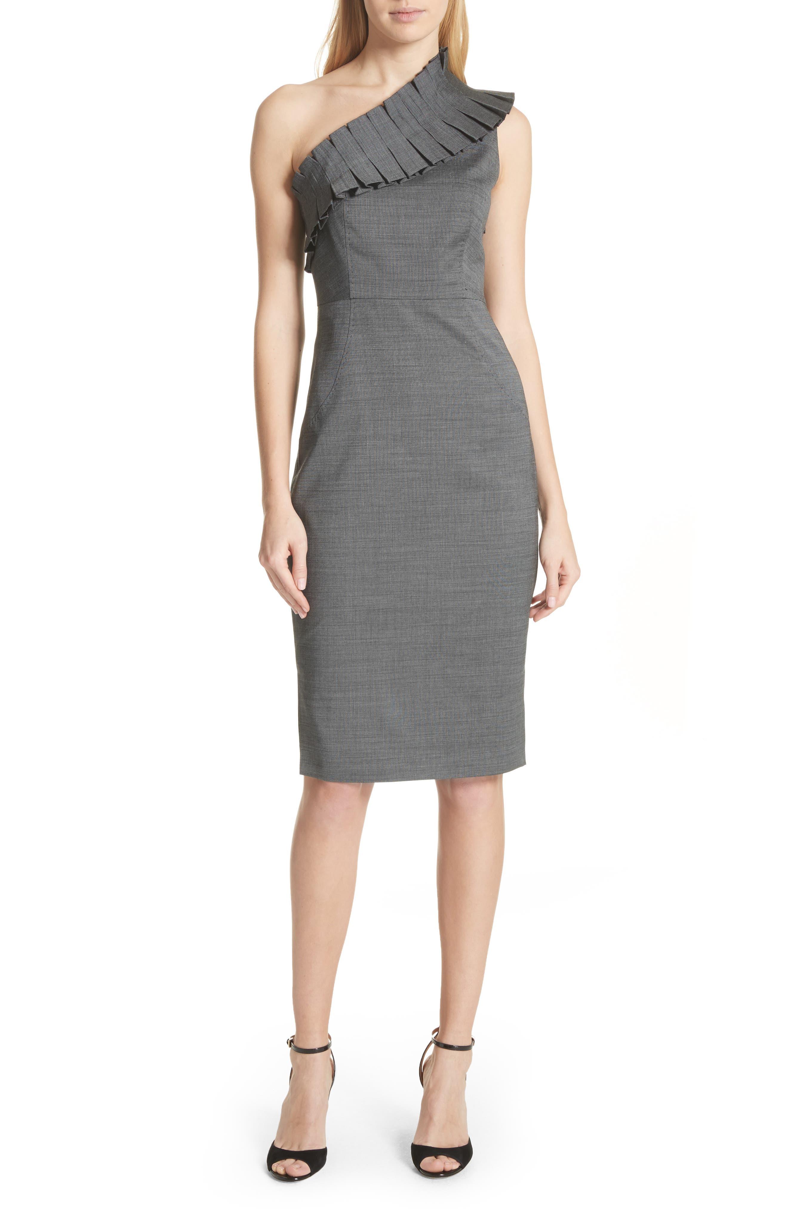 One-Shoulder Sheath Dress,                         Main,                         color, Grey
