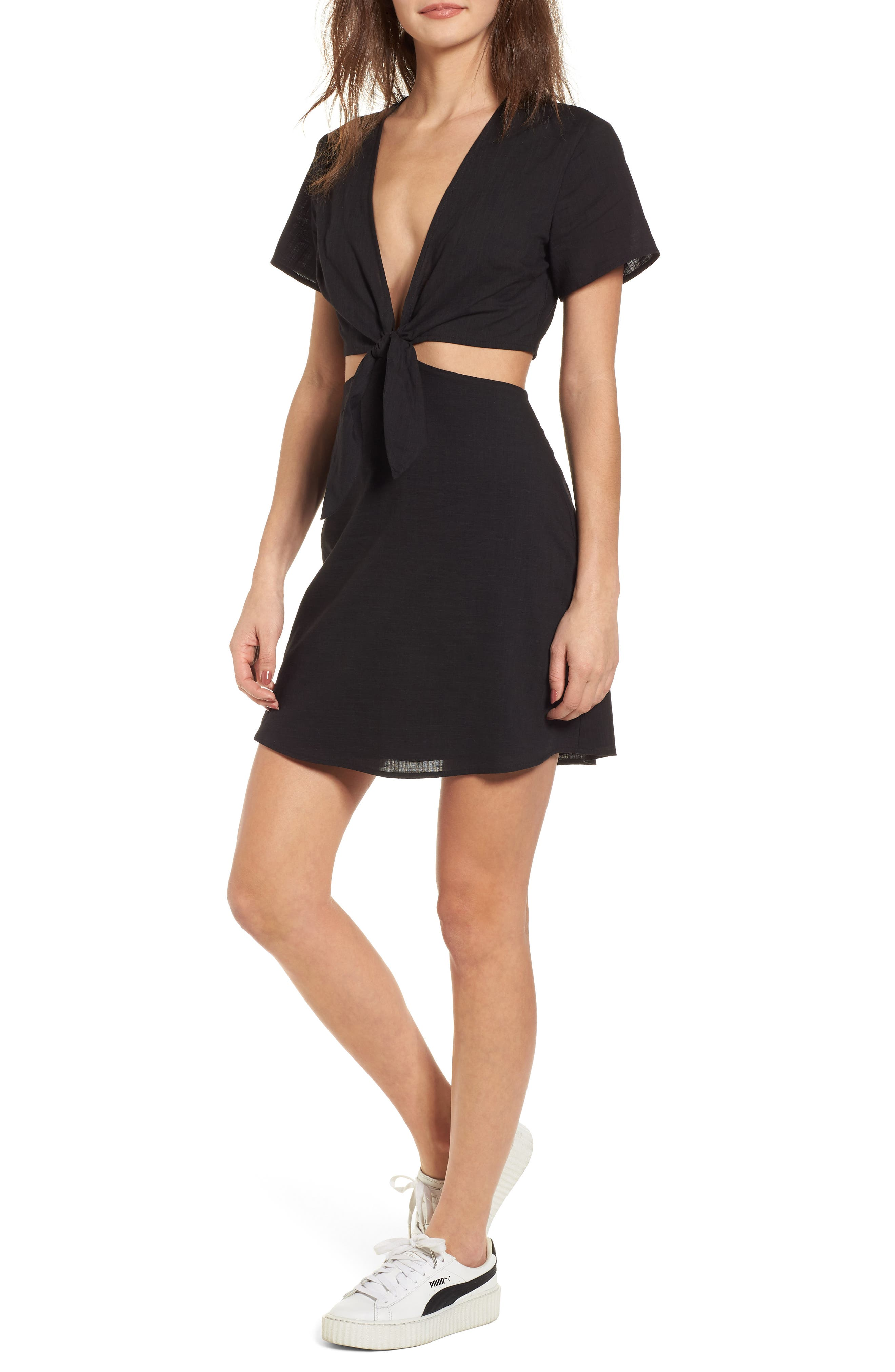 Emily Cutout Minidress,                             Main thumbnail 1, color,                             Black