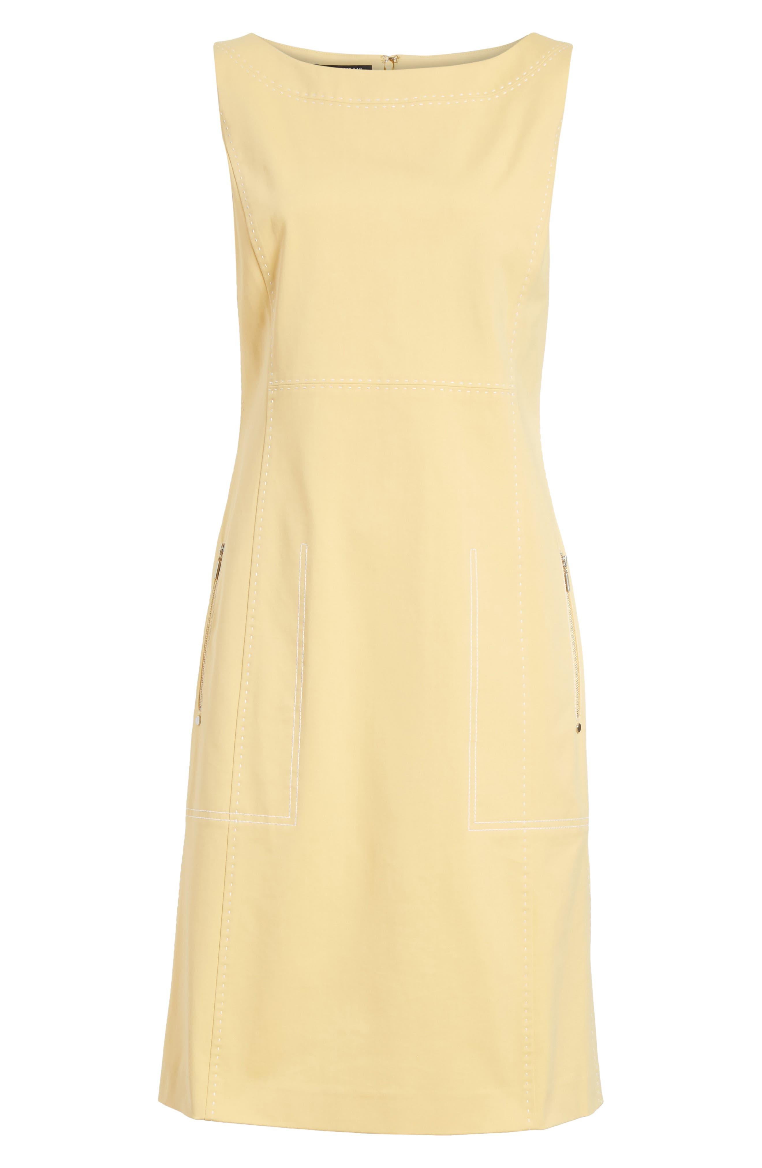 Paxton Sleeveless Sheath Dress,                             Alternate thumbnail 7, color,                             Sienna Yellow