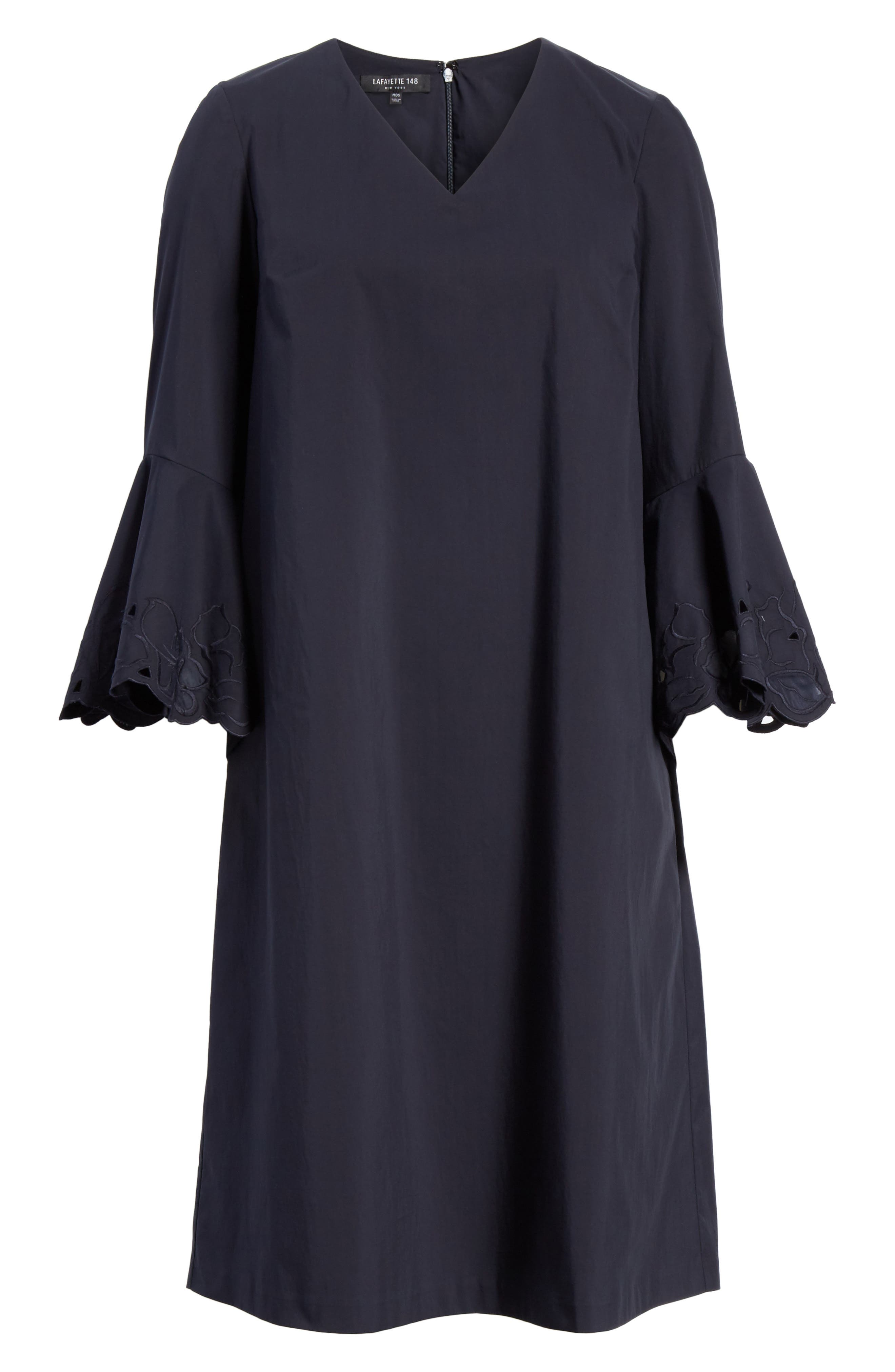 Holly Flare Cuff Dress,                             Alternate thumbnail 7, color,                             Ink