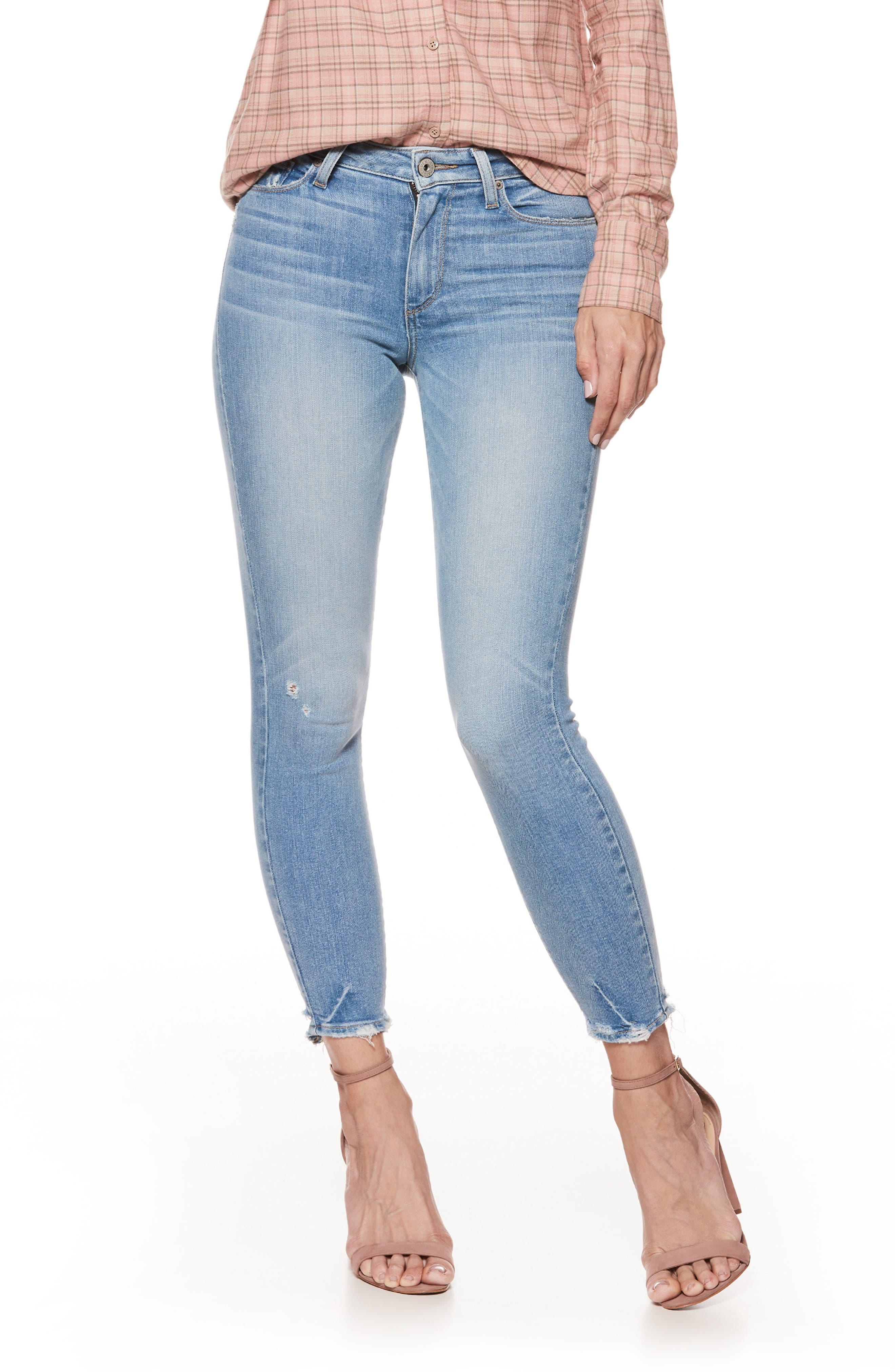 Hoxton High Waist Crop Skinny Jeans,                         Main,                         color, Atterbury W/ Torn Back Hem