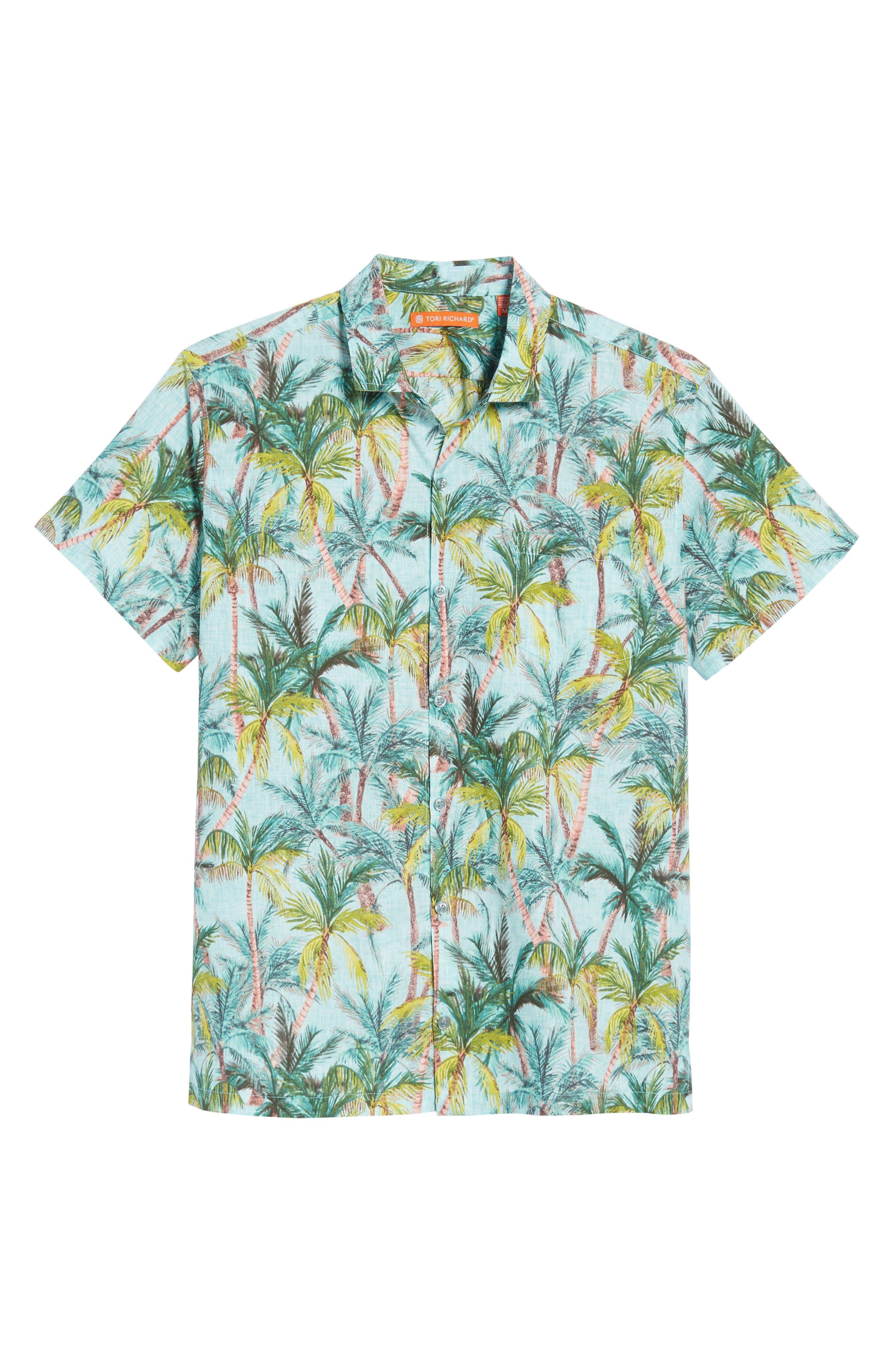 Coco Vida Trim Fit Print Cotton Lawn Sport Shirt,                             Alternate thumbnail 6, color,                             Surf