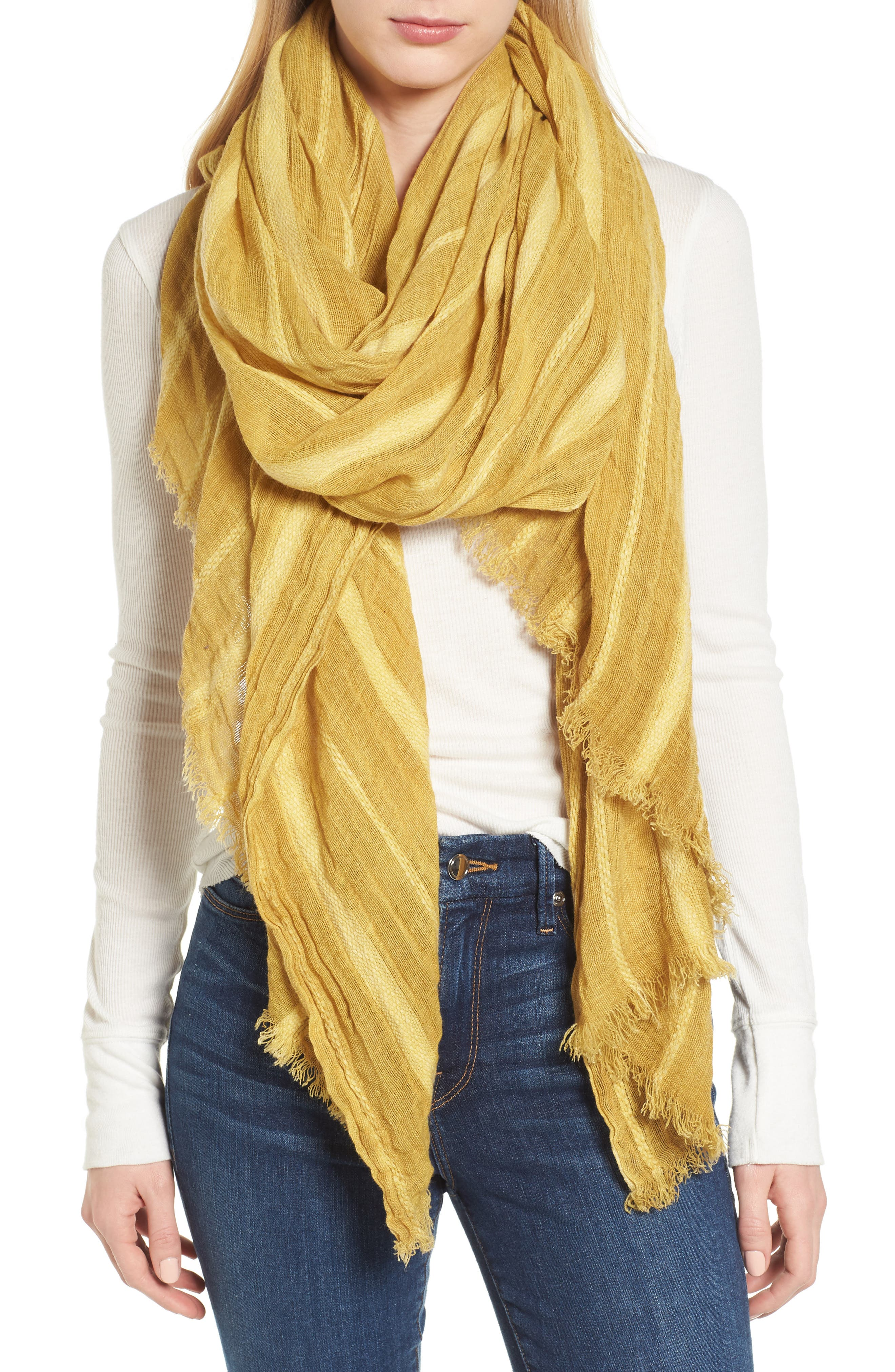 Solid Ribbed Wrap Scarf,                             Main thumbnail 1, color,                             Yellow Glow