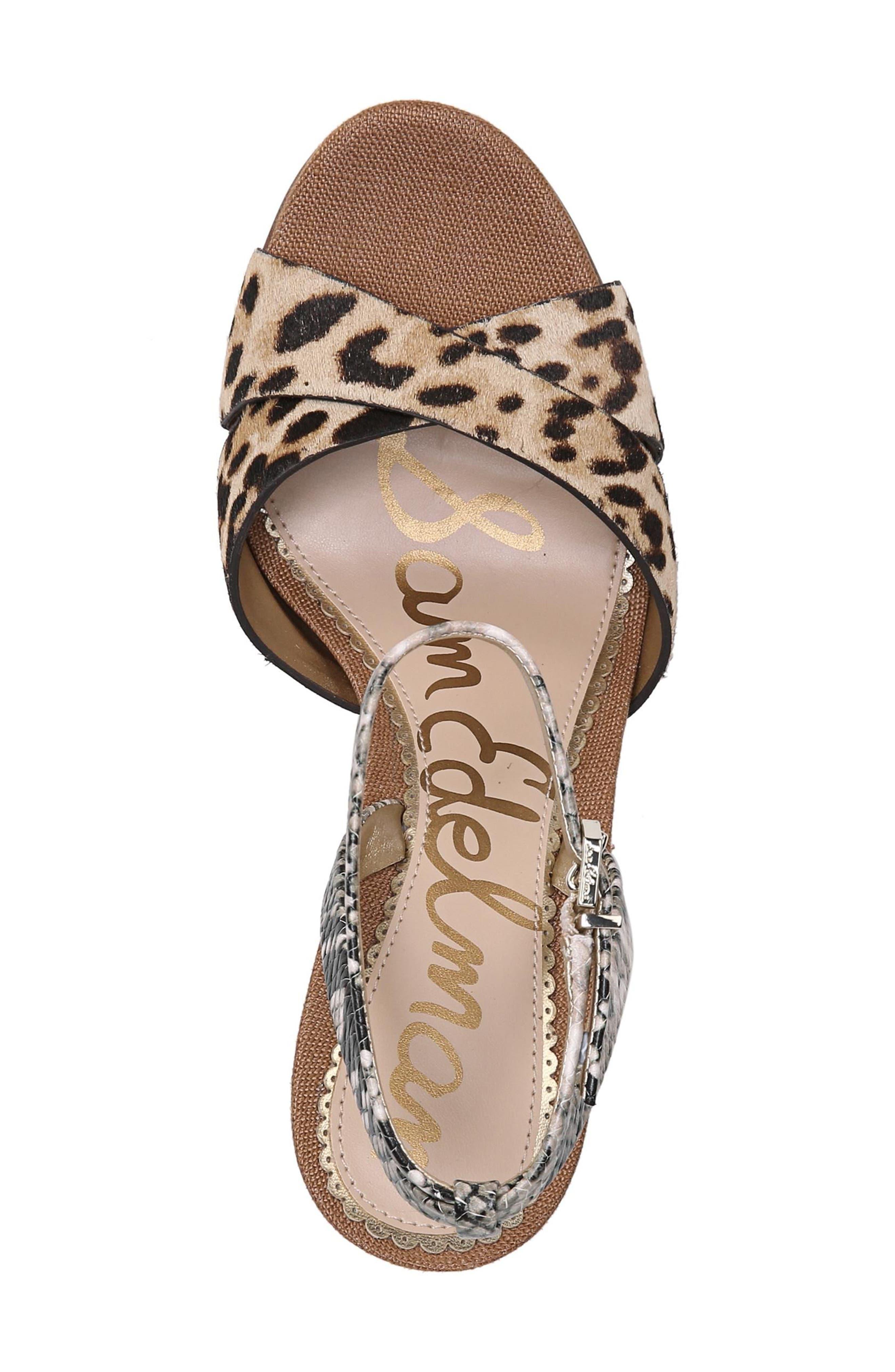 Aly Ankle Strap Sandal,                             Alternate thumbnail 5, color,                             Leopard Print Calf Hair