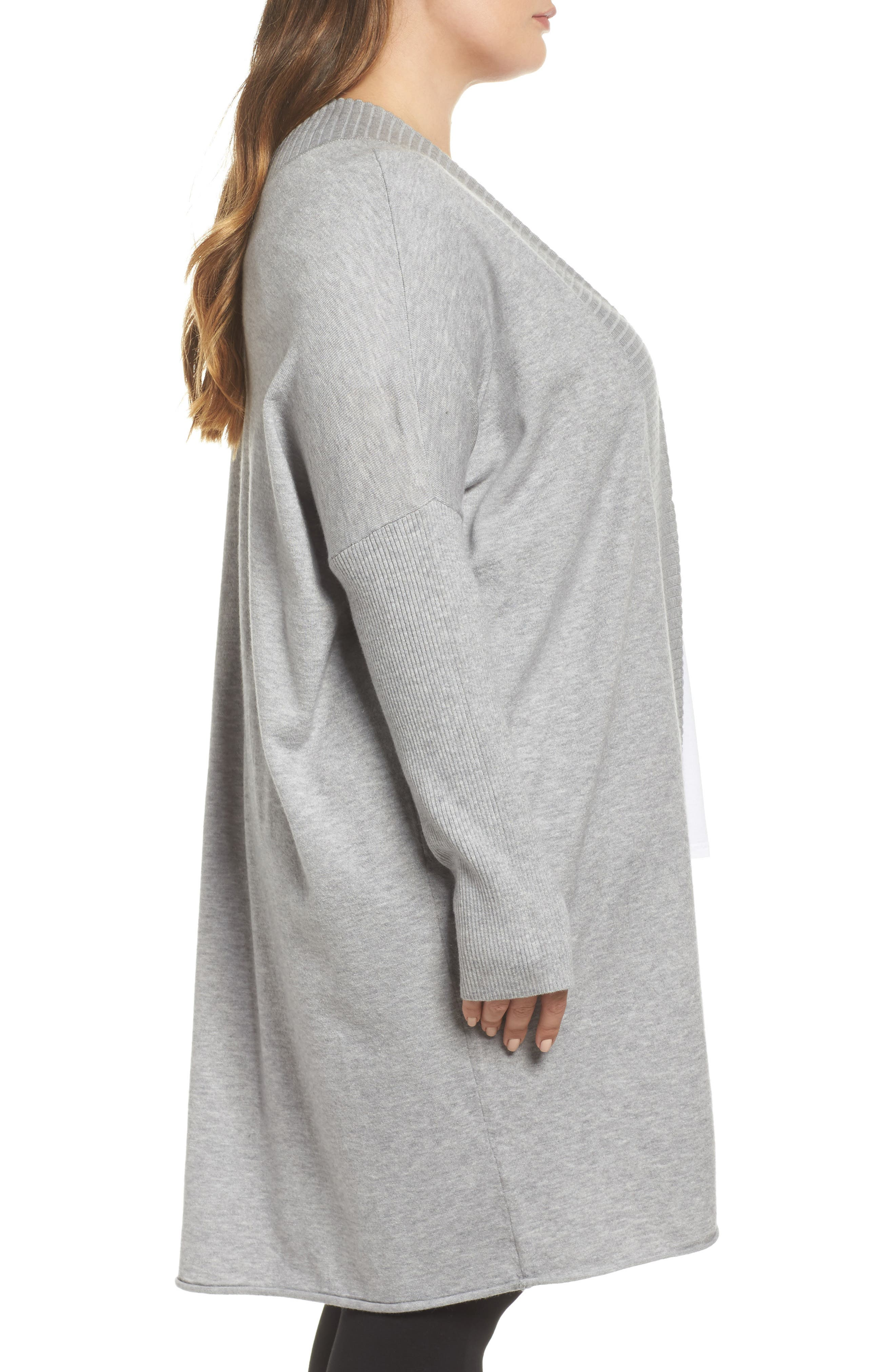 Off-Duty Long Open Front Cardigan,                             Alternate thumbnail 3, color,                             Grey Heather