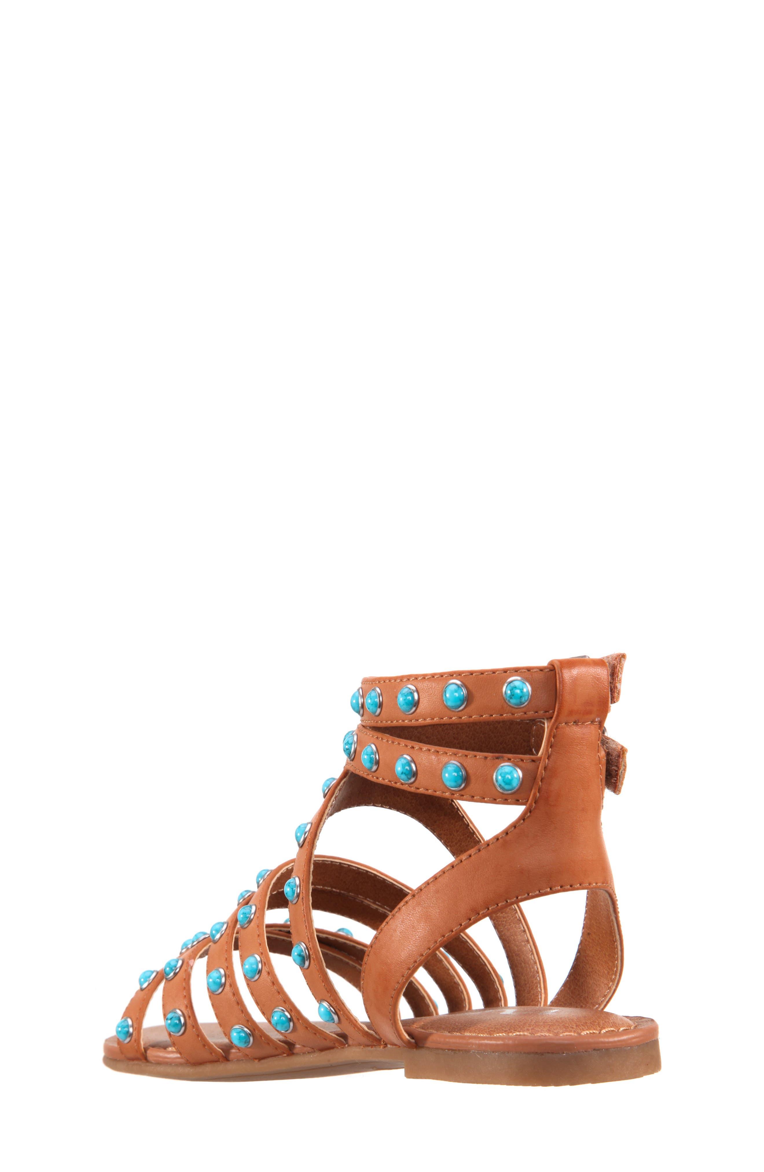 Tammara Studded Gladiator Sandal,                             Alternate thumbnail 2, color,                             Tan Burnished