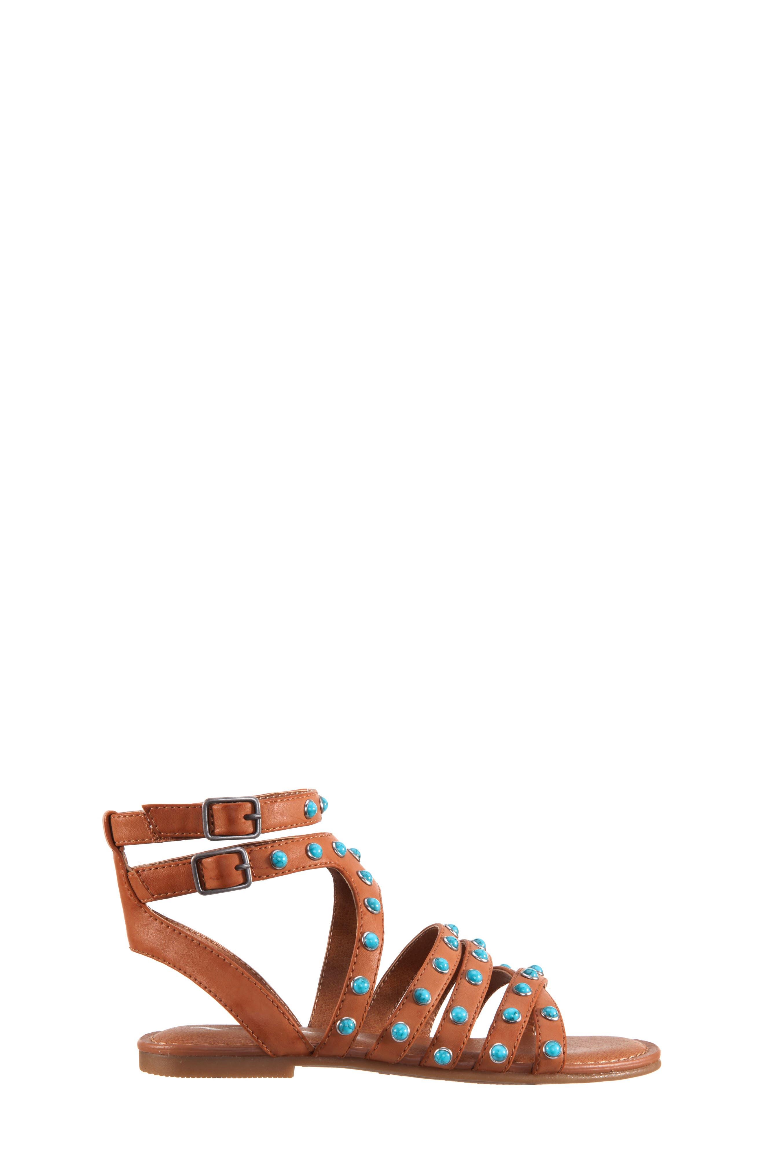 Tammara Studded Gladiator Sandal,                             Alternate thumbnail 3, color,                             Tan Burnished