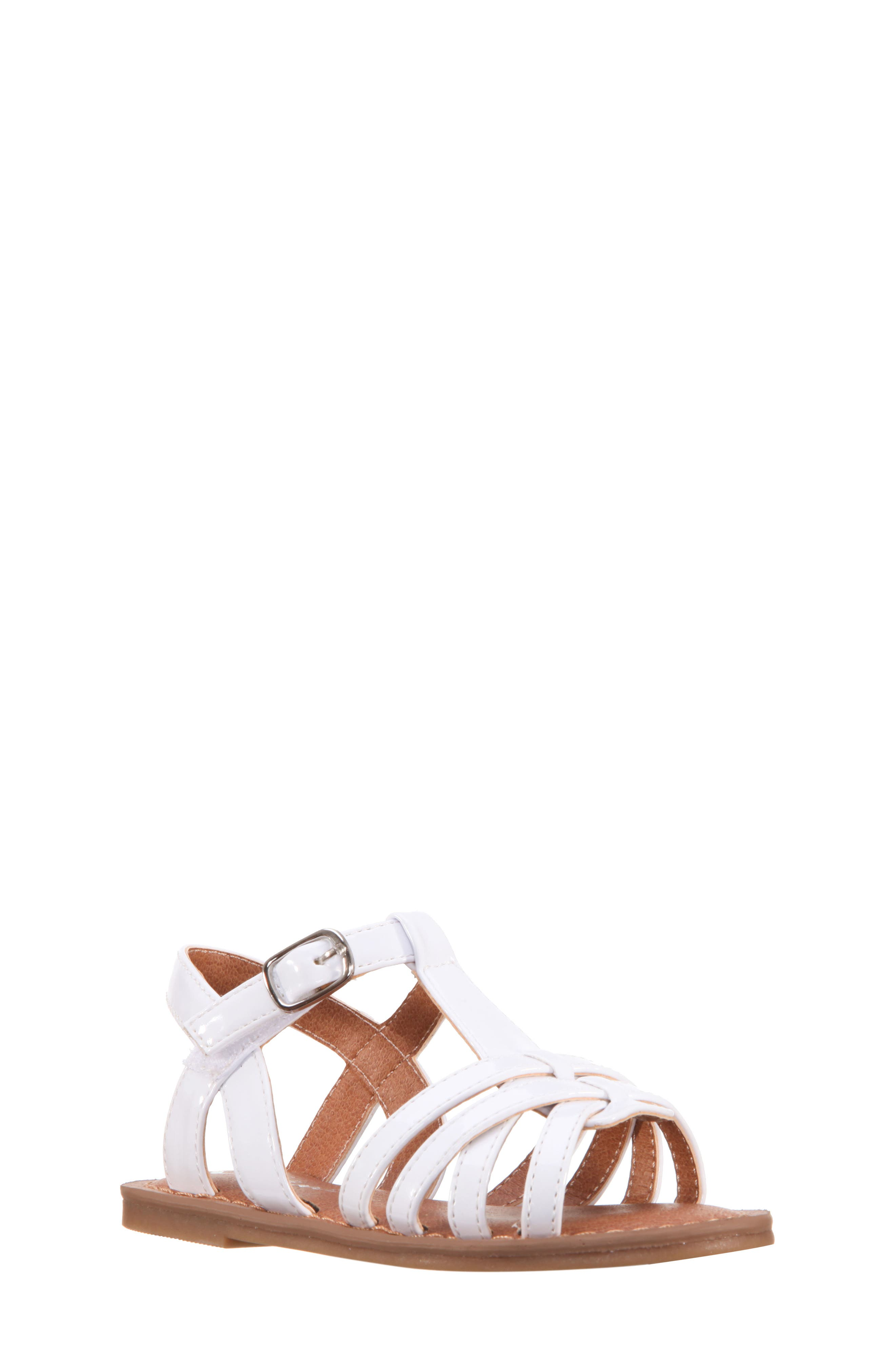 Thereasa Ankle Strap Sandal,                             Main thumbnail 1, color,                             White Patent