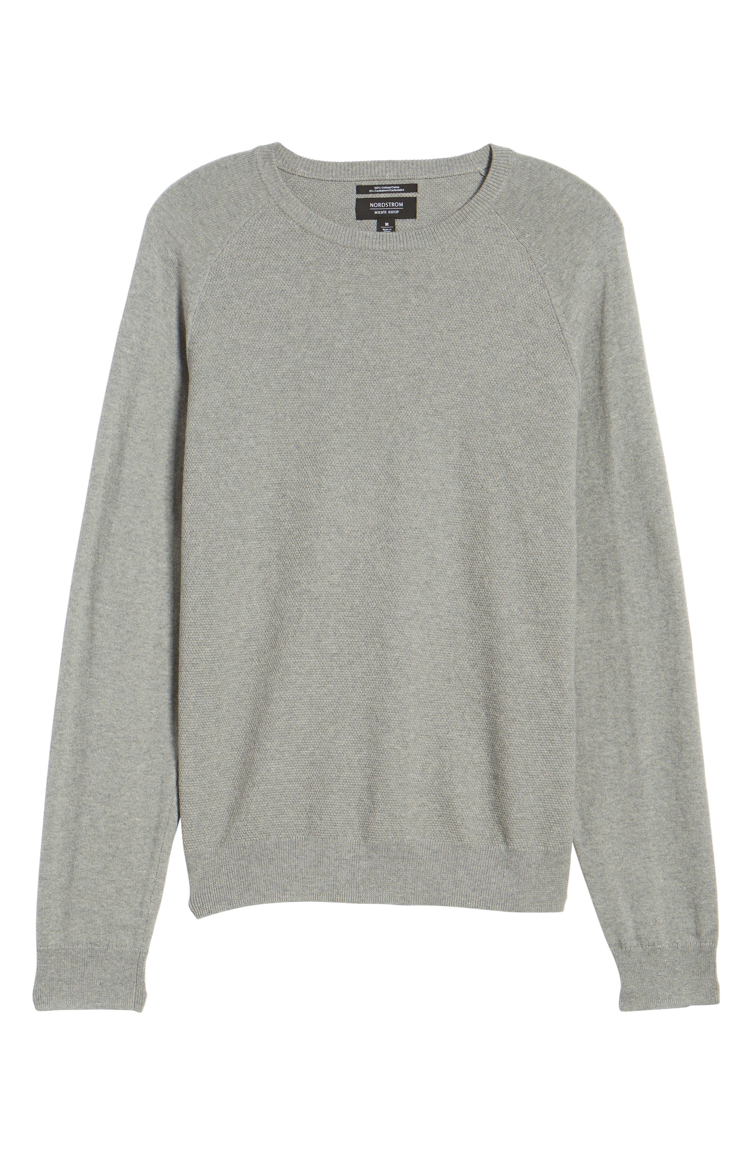 Crewneck Cotton & Cashmere Sweater,                             Alternate thumbnail 6, color,                             Grey Medium Heather