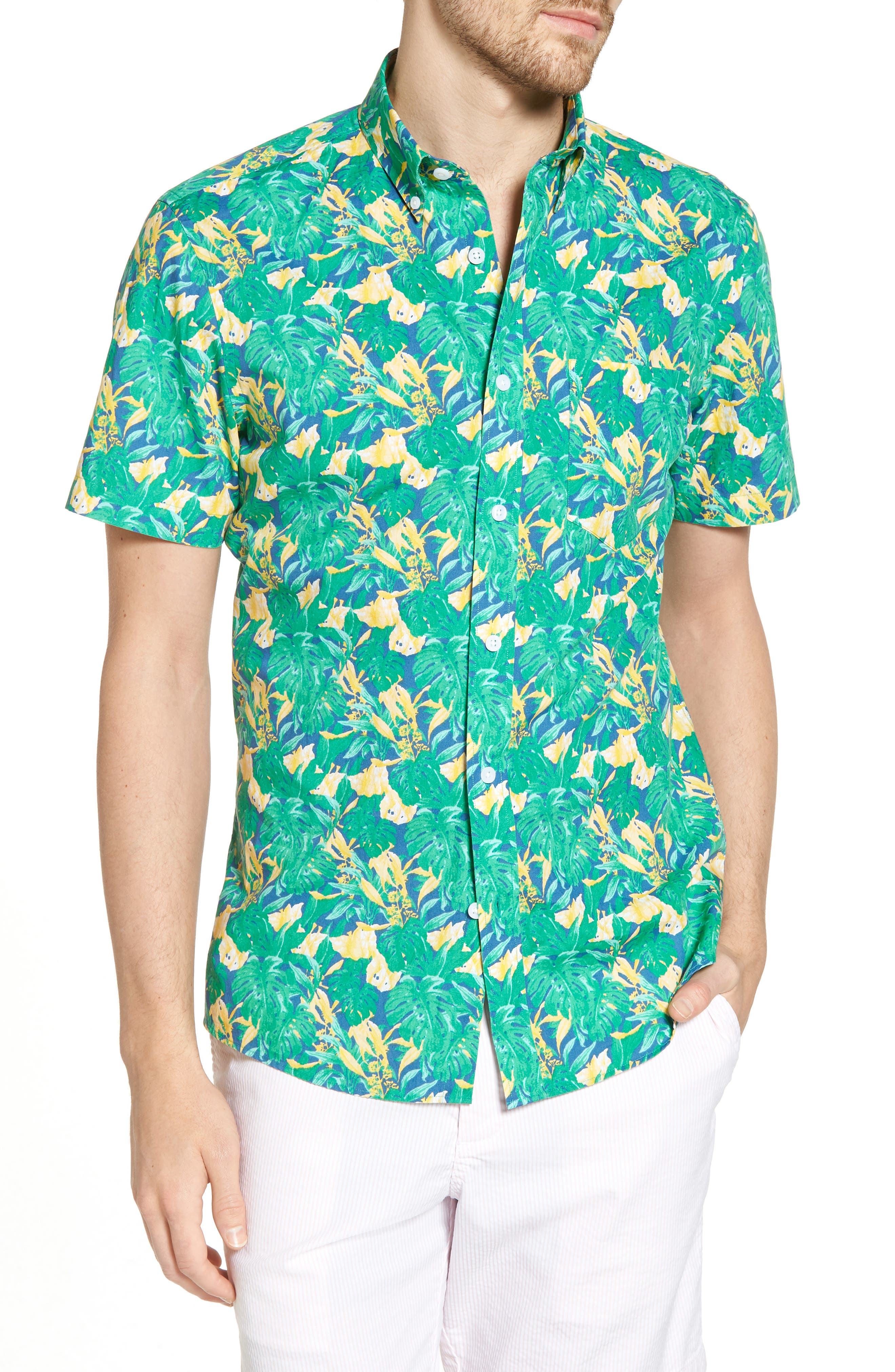 Trim Fit Leaf Print Sport Shirt,                             Main thumbnail 1, color,                             Green Yellow Split Leaves
