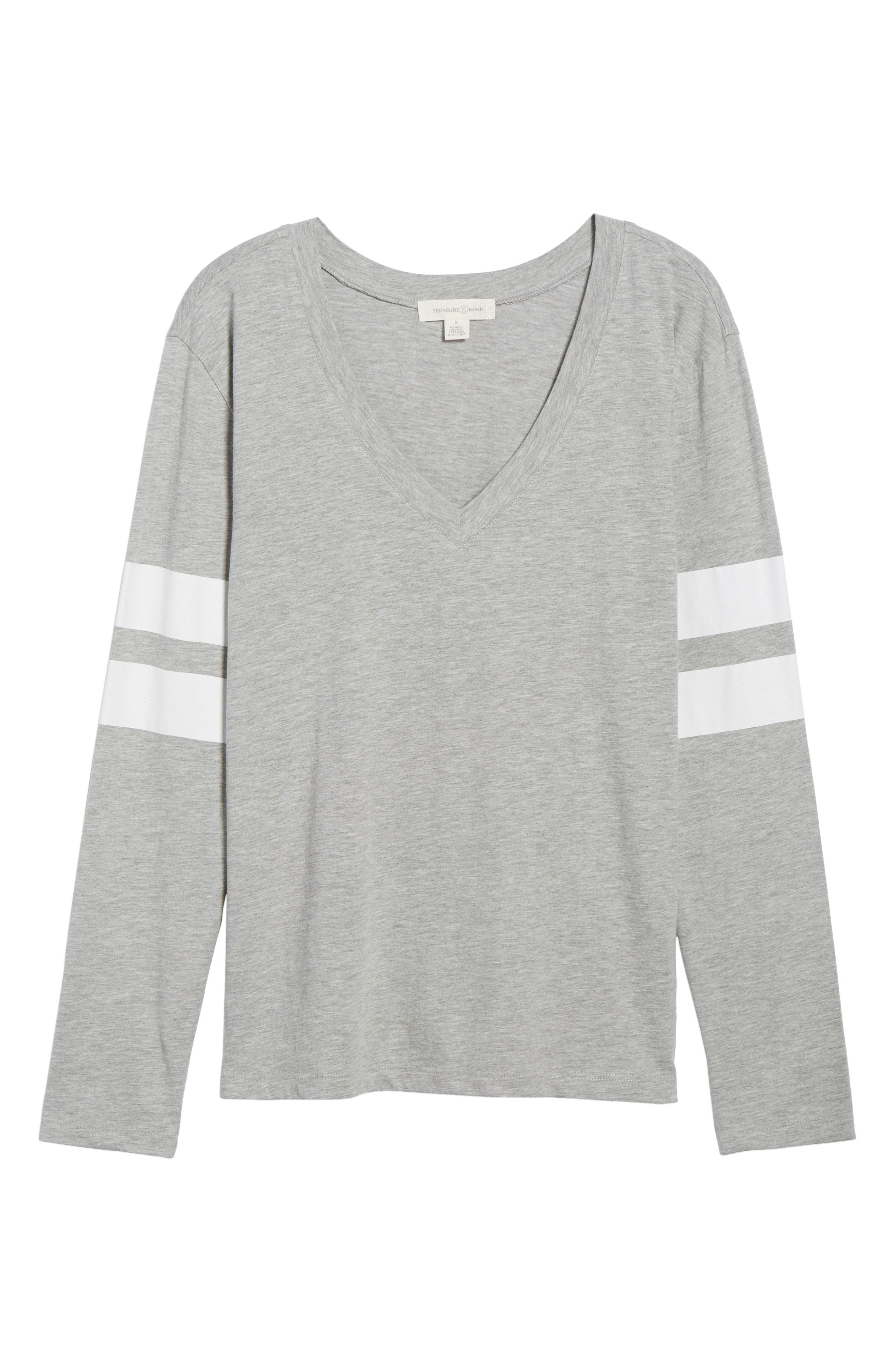 Varsity Stripe Tee,                             Alternate thumbnail 6, color,                             Grey Heather- White Combo