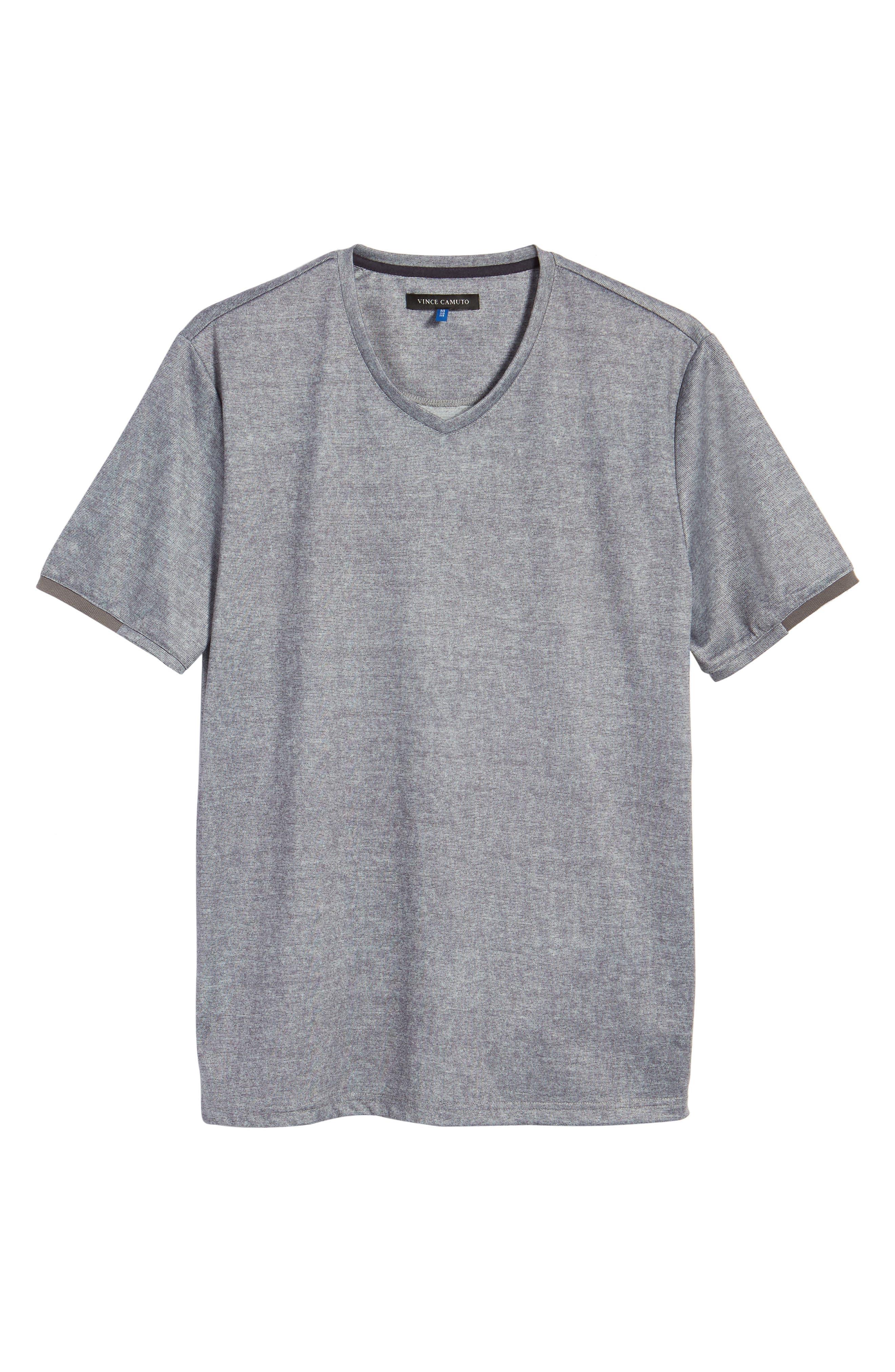 Slim Fit V-Neck T-Shirt,                             Alternate thumbnail 6, color,                             Grey Solid