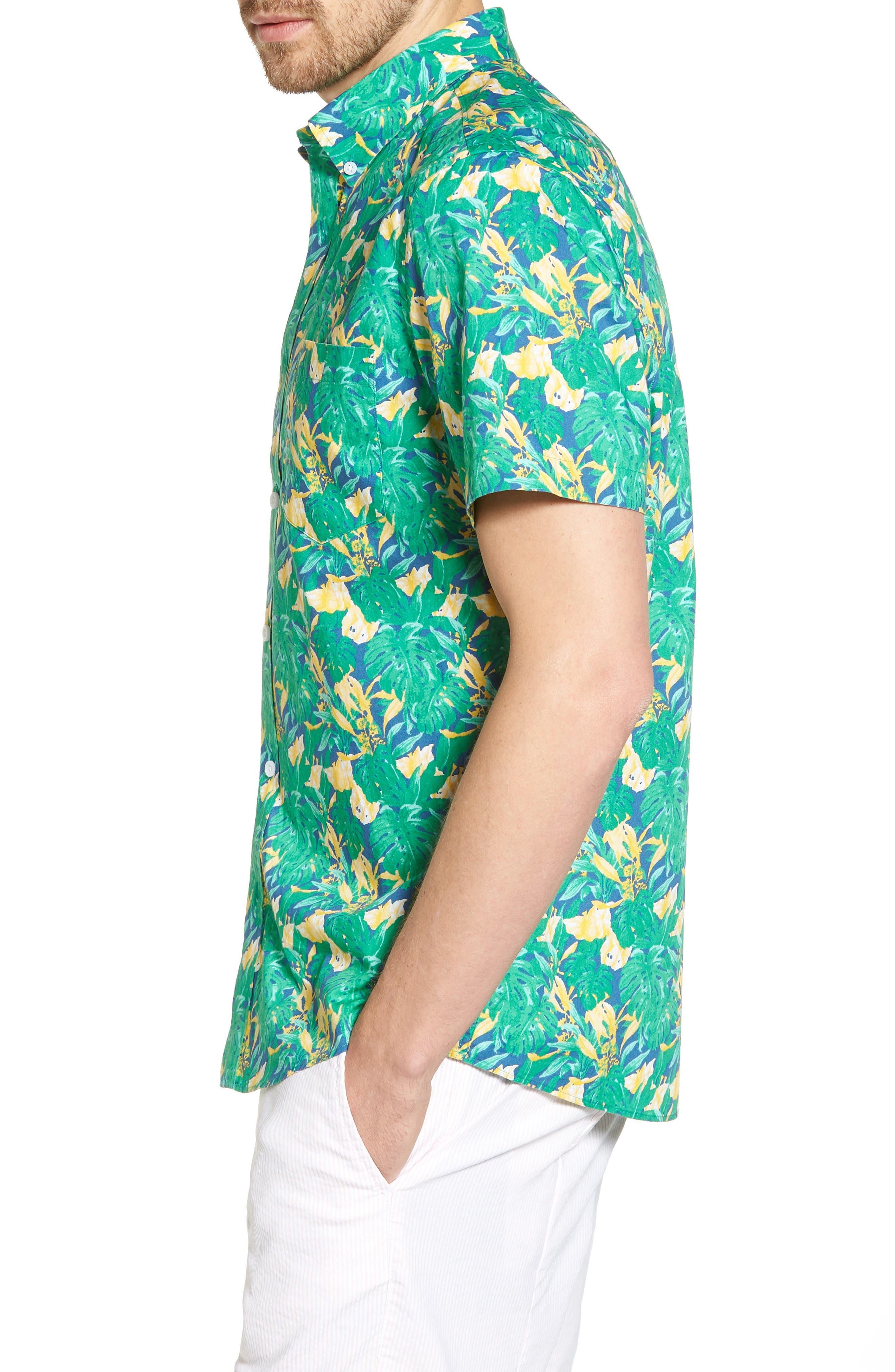 Trim Fit Leaf Print Sport Shirt,                             Alternate thumbnail 4, color,                             Green Yellow Split Leaves